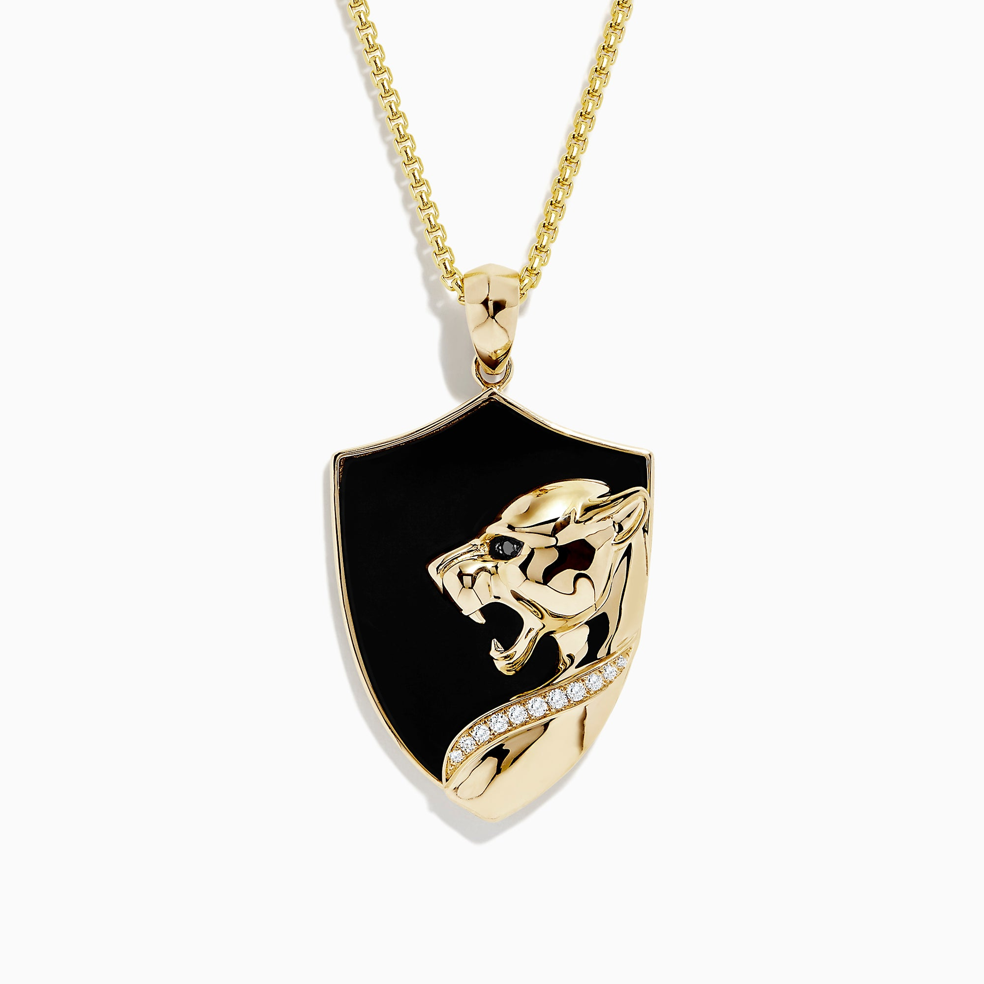 Effy Men's 14K Yellow Gold Onyx and Diamond Panther Pendant, 15.10 TCW