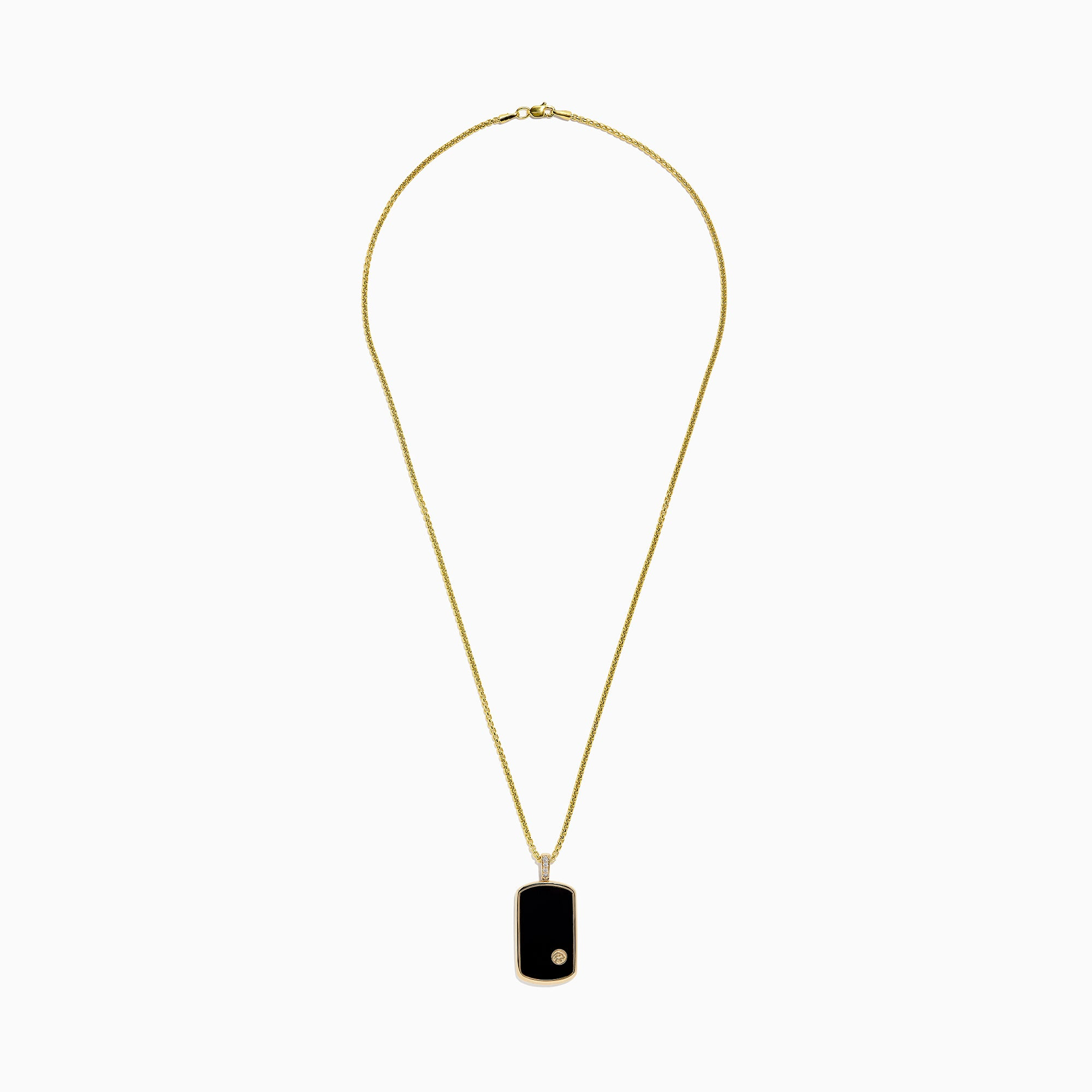 Effy Men's 14K Yellow Gold Onyx and Diamond Dog Tag Pendant, 1.00 TCW
