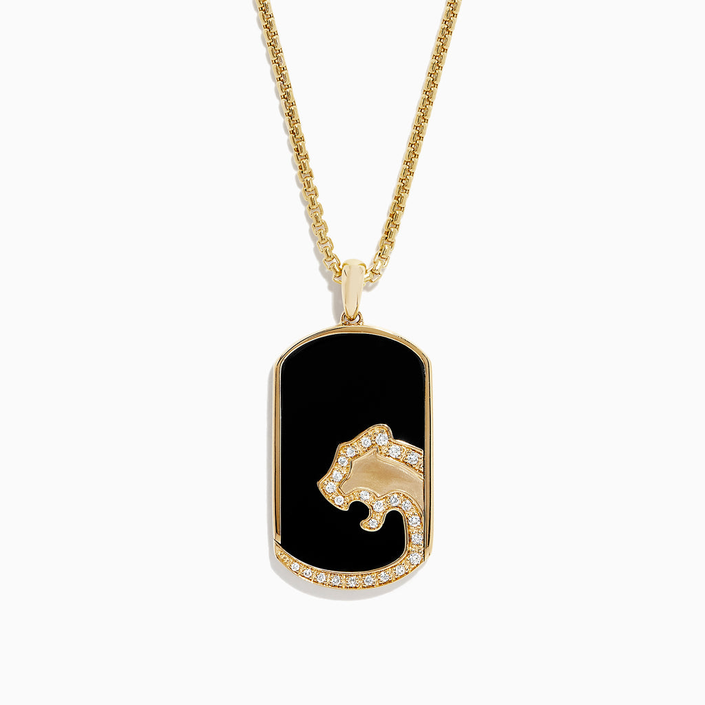 Effy Men's 14K Gold Onyx and Diamond Panther Silhouette Pendant, 1.12 TCW