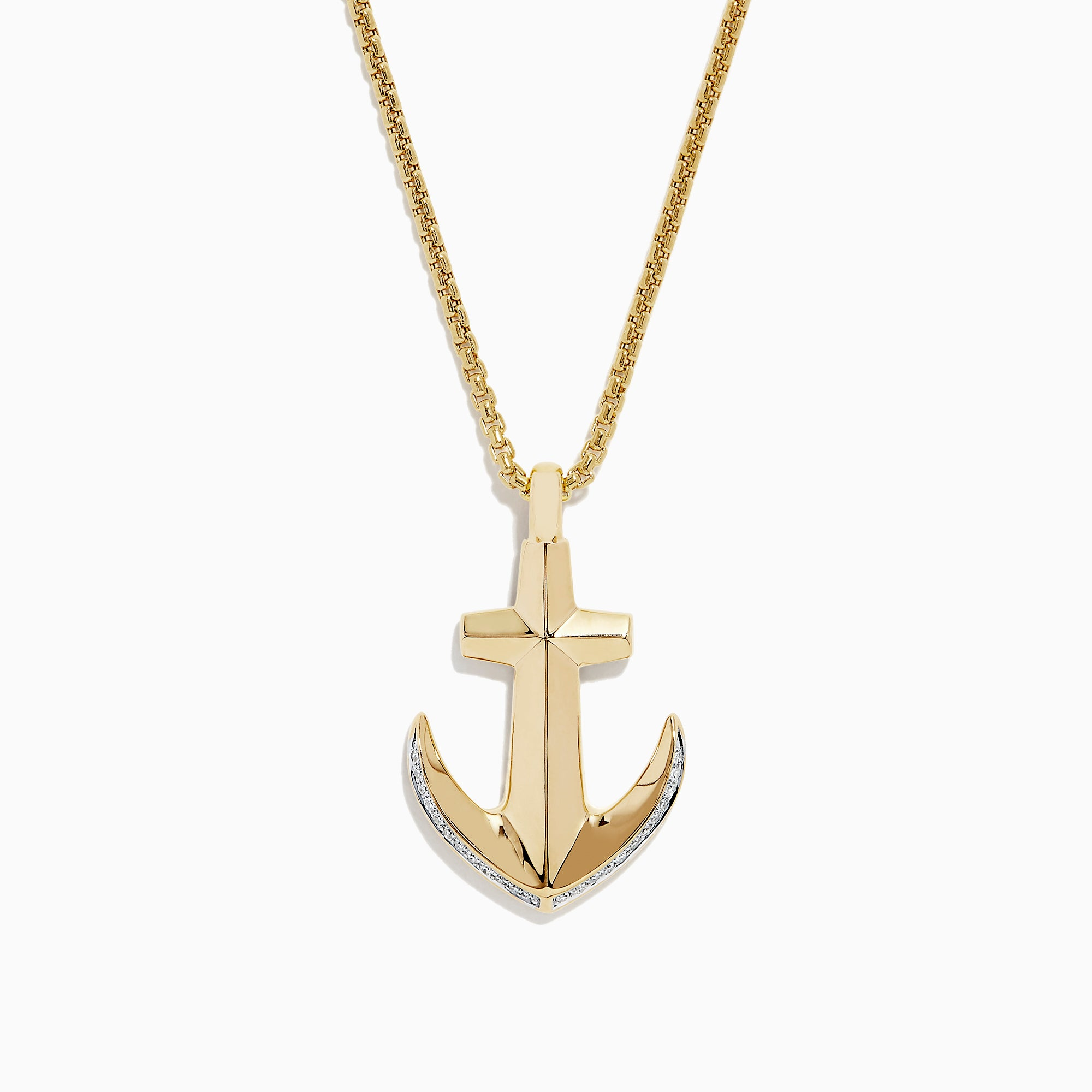 Effy Men's 14K Yellow Gold Diamond Anchor Pendant, 0.11 TCW