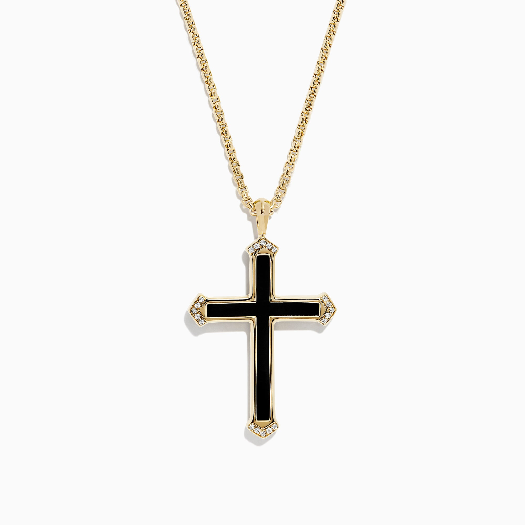 Effy Men's 14K Yellow Gold Onyx and Diamond Cross Pendant, 5.65 TCW