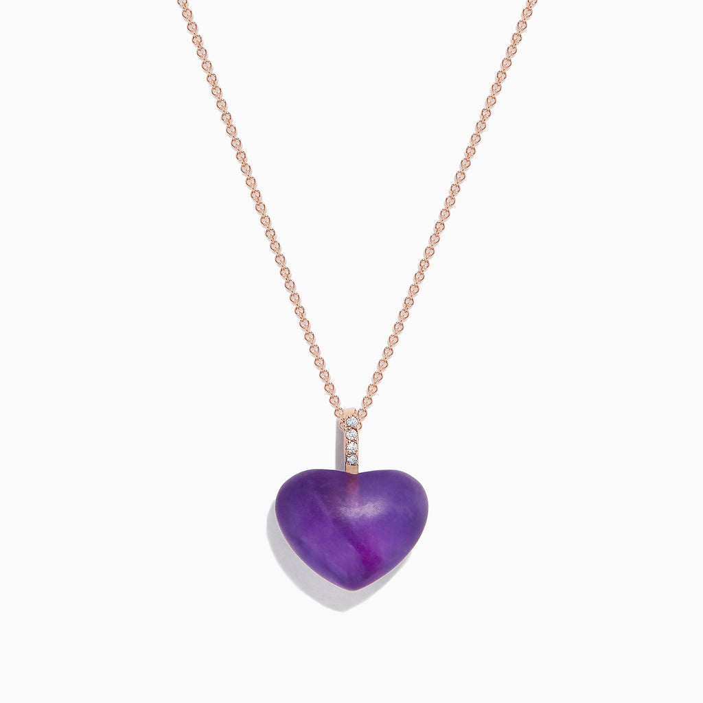 Effy 14K Rose Gold Amethyst and Diamond Heart Pendant, 10.32 TCW