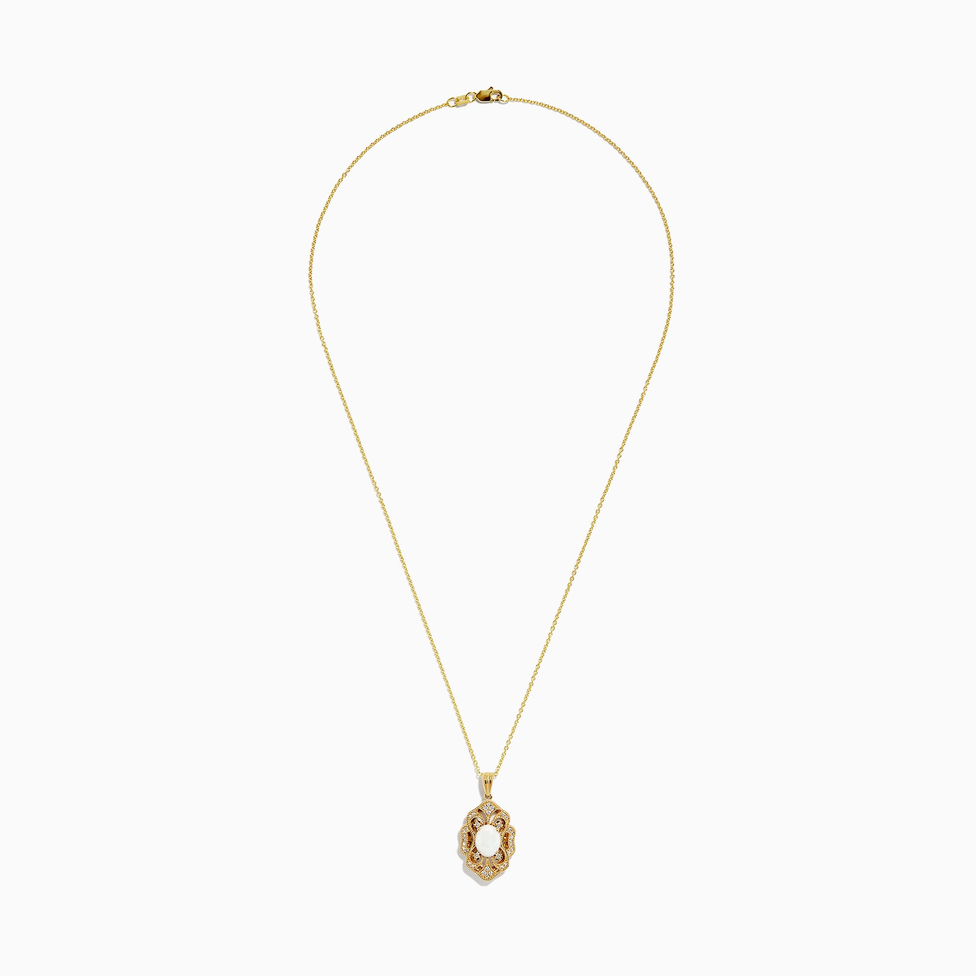 Effy Aurora 14K Yellow Gold Opal and Diamond Pendant, 1.18 TCW