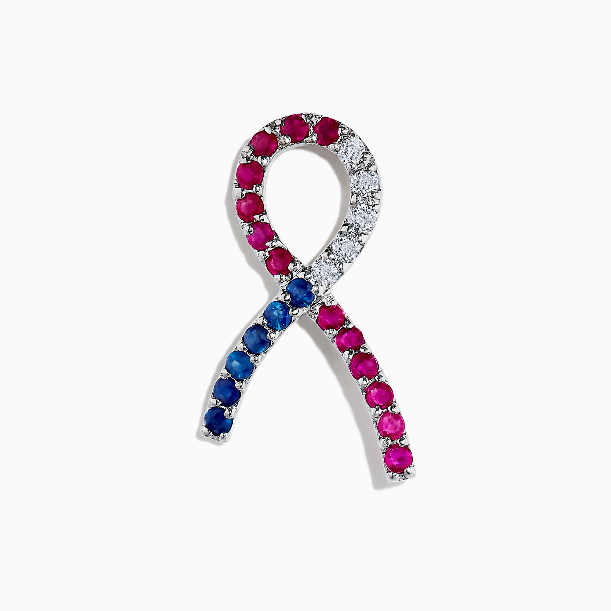 Effy 14K White Gold Ruby, Blue Sapphire Diamond Ribbon Pin, 1.07 TCW