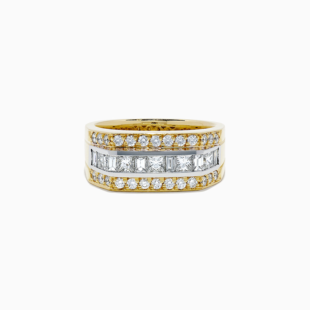18K Two Tone Gold Diamond Men's Ring, 1.95 TCW