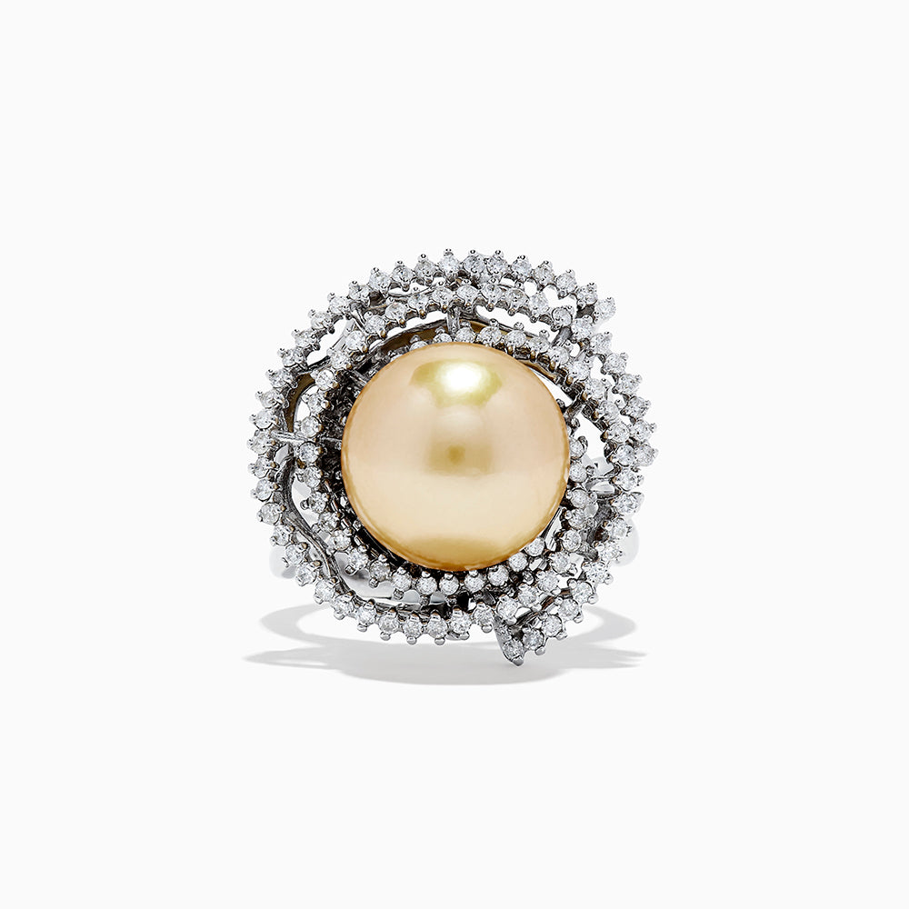 18K White Gold Pearl and Diamond Ring, 1.10 TCW