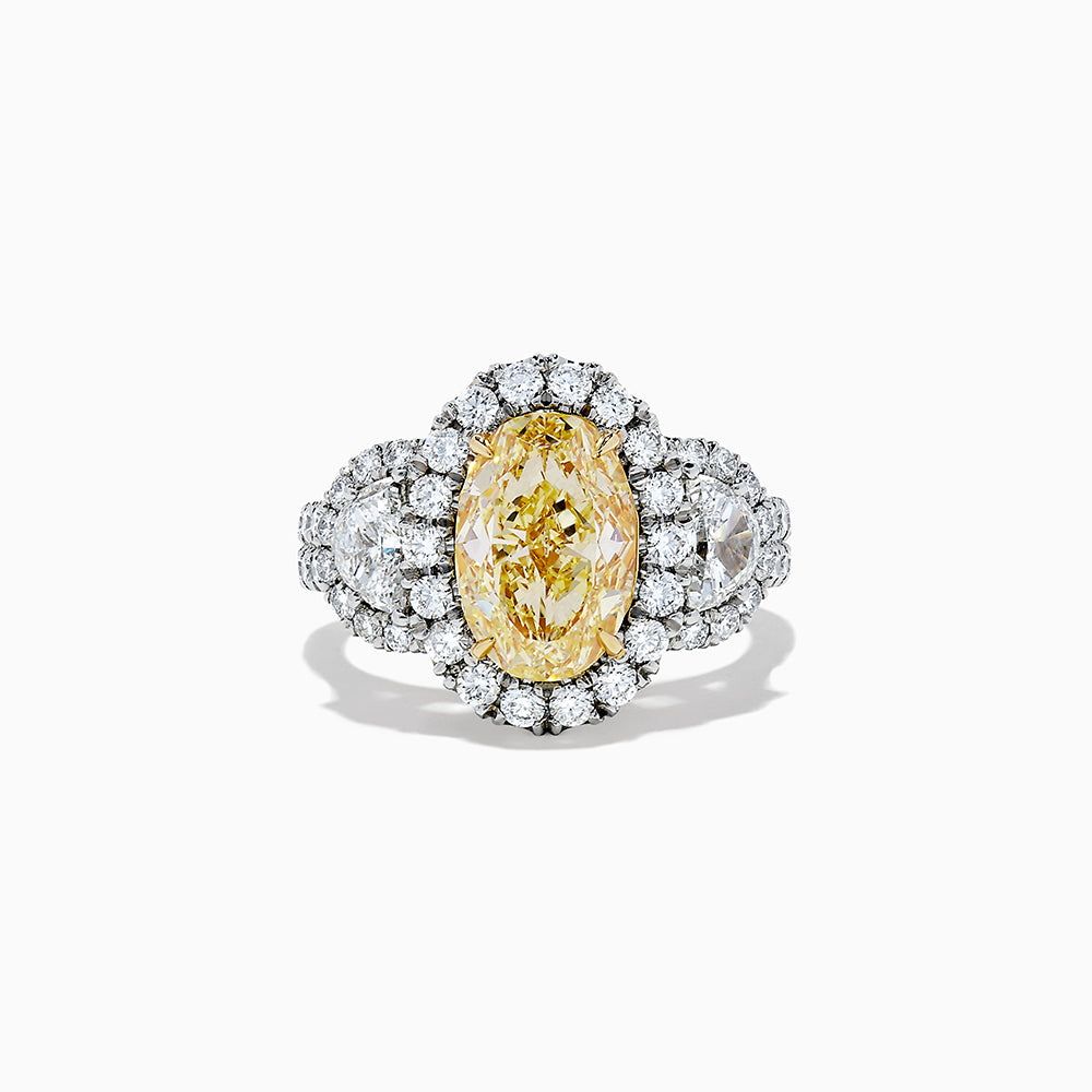 18K Two Tone Gold Yellow and White Diamond Ring, 5.07 TCW