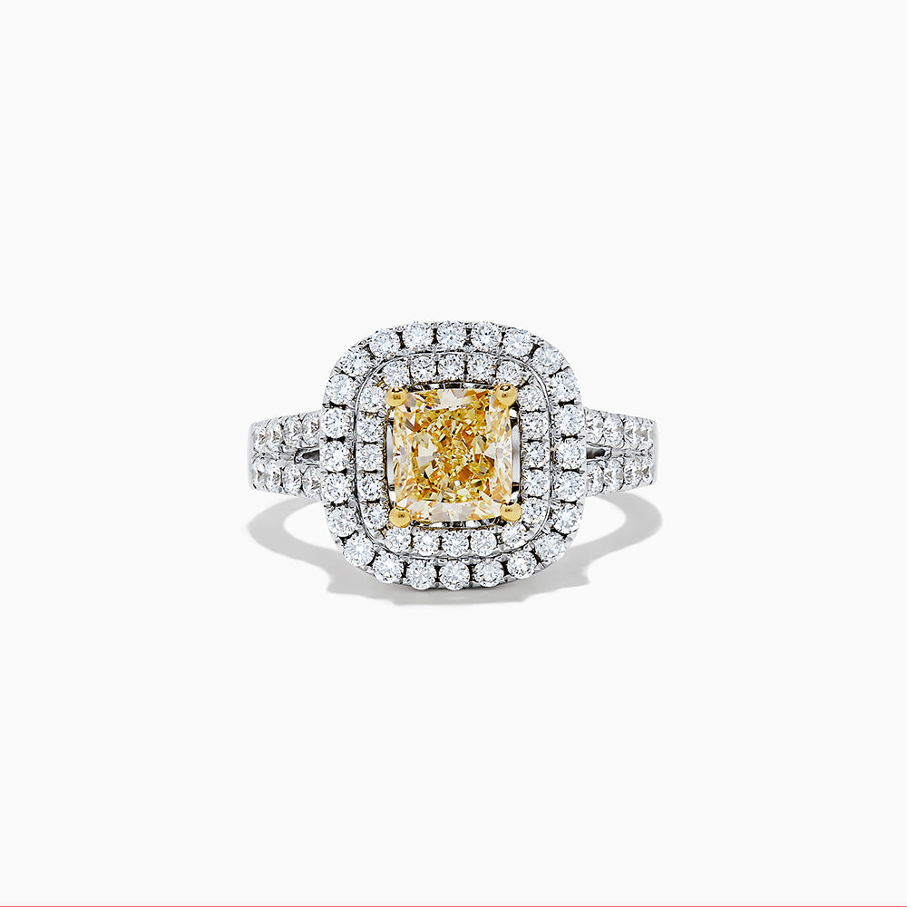 18K Two  Tone Gold Yellow and White Diamond Ring, 2.84 TCW