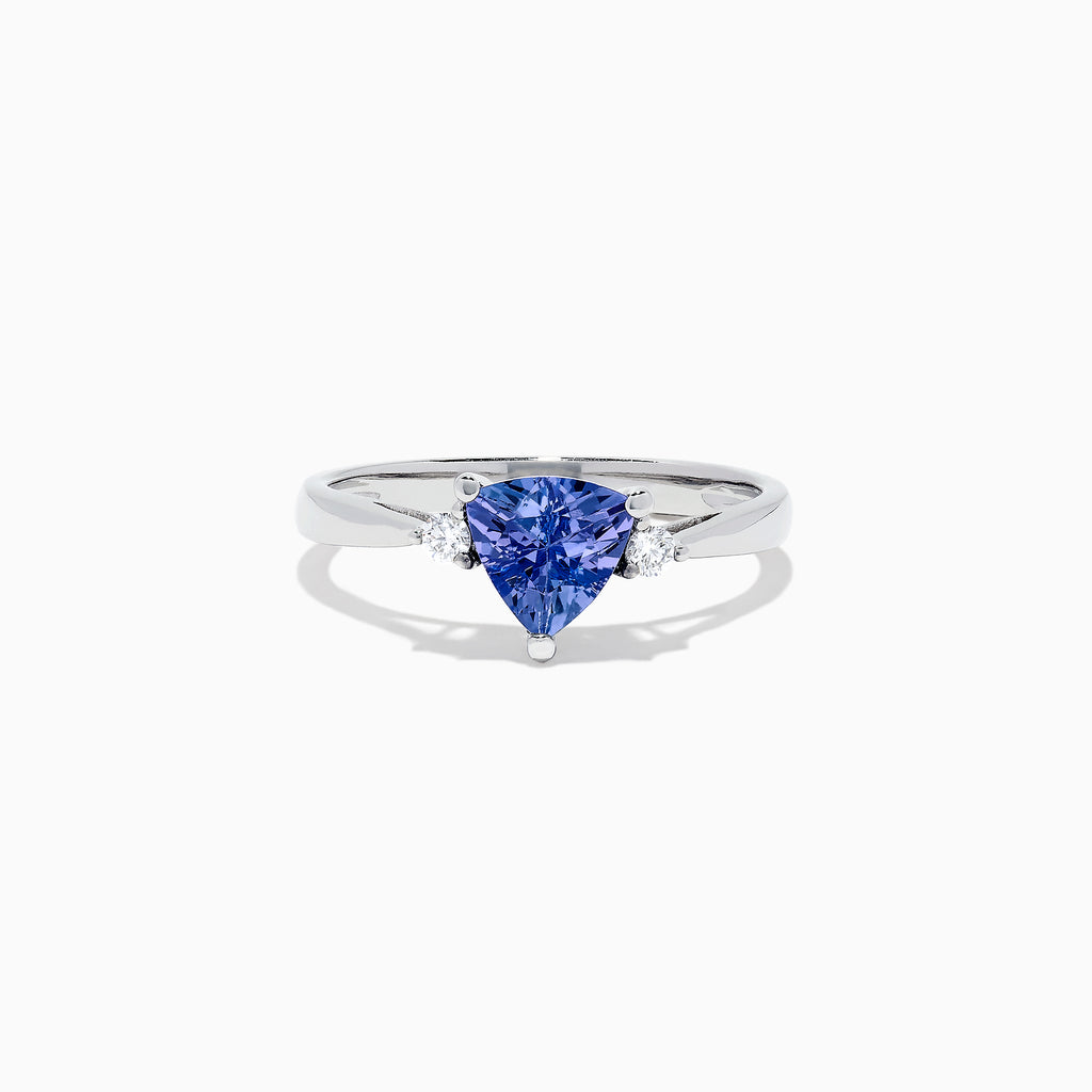 Effy Tanzanite Royale 14K White Gold Trillion Tanzanite and Diamond Ring, 1.07 TCW