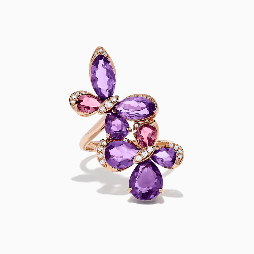 Effy 14K Gold Amethyst, Pink Tourmaline and Diamond Butterfly Ring, 6.95 TW