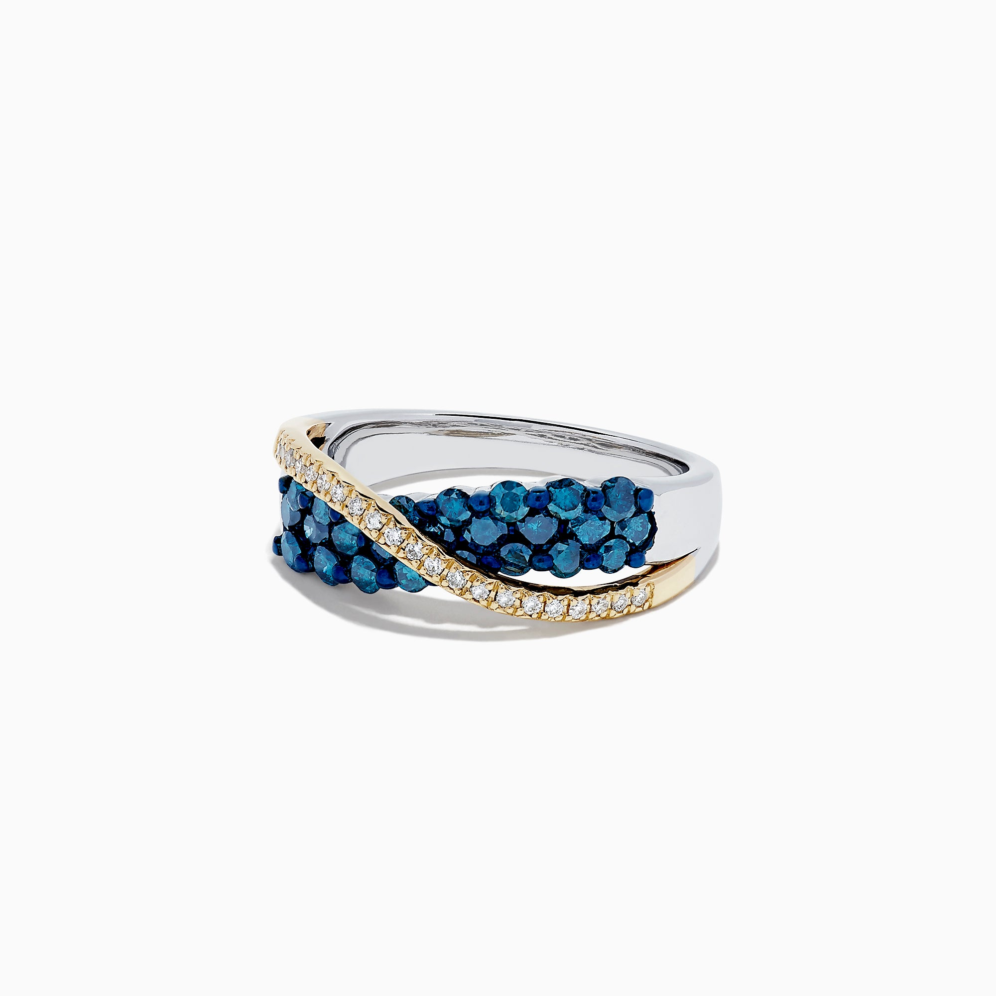 14K Two Tone Gold Blue and White Diamond Crossover Ring, 1.00 TCW