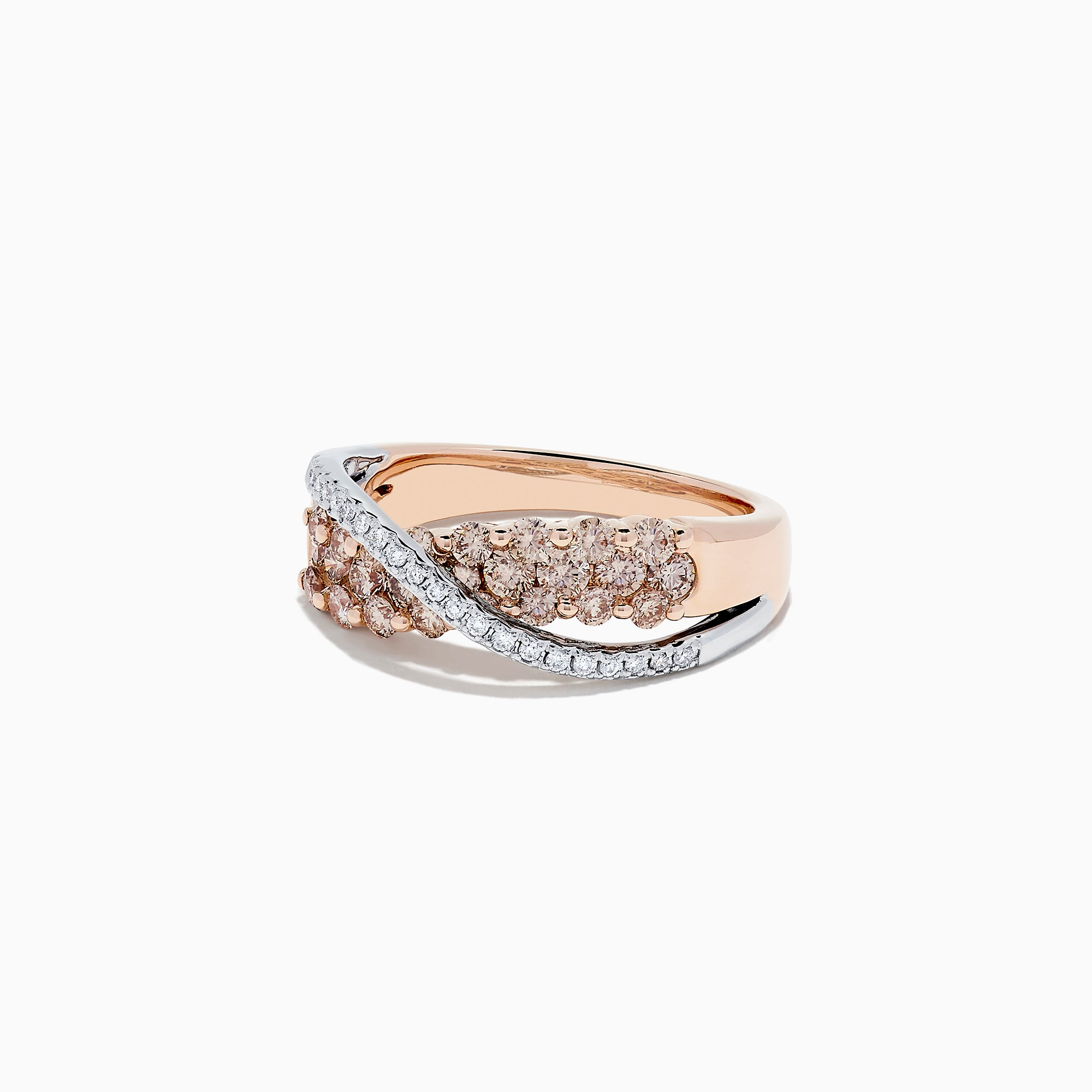 14K Two Tone Gold Espresso and White Diamond Crossover Ring, 1.00 TCW