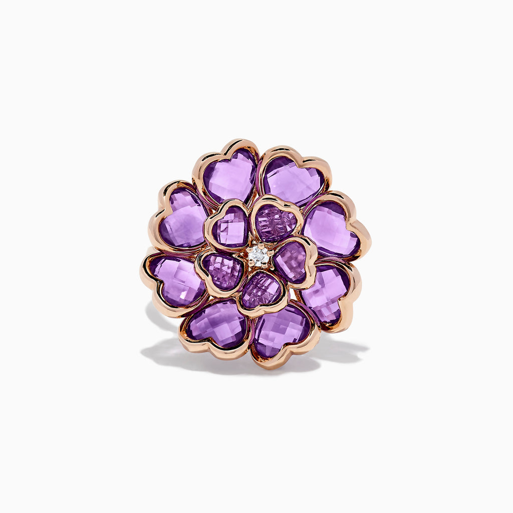 Effy Nature 14K Rose Gold Amethyst and Diamond Flower Ring, 7.79 TCW