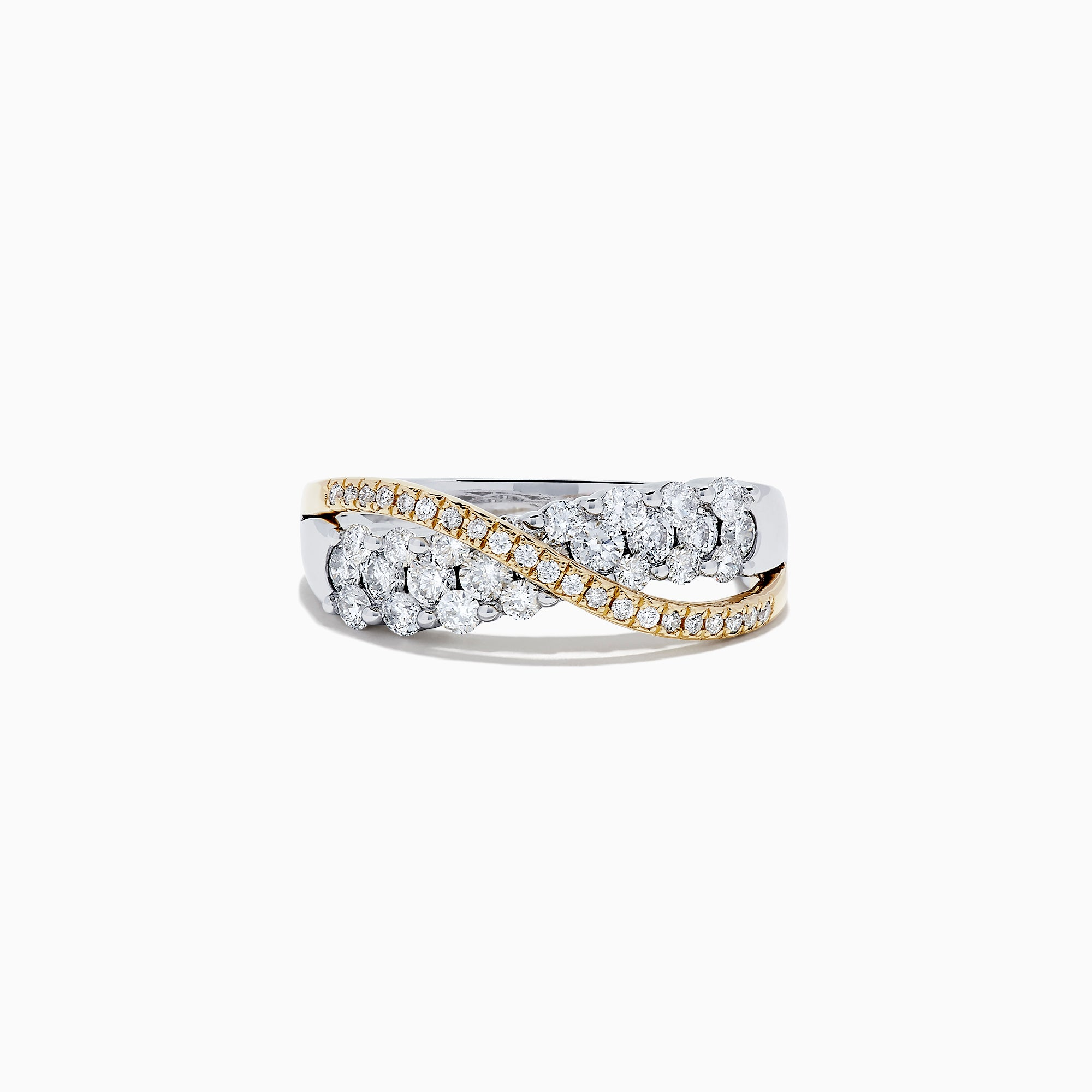 14K White and Yellow Gold Diamond Crossover Ring, 1.00 TCW