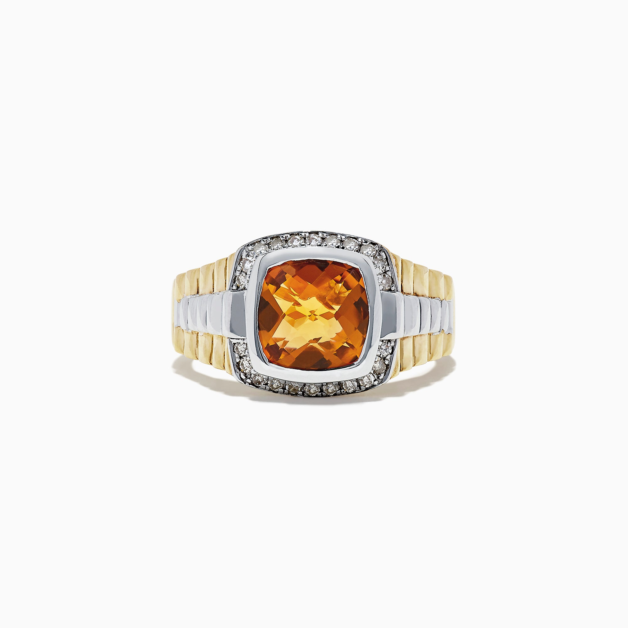Effy Men's Sterling Silver Citrine and Diamond Ring, 2.87 TCW