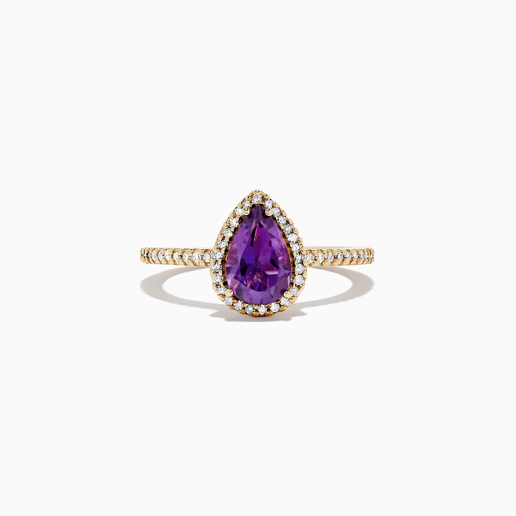 Effy 14K Yellow Gold Pear Shaped Amethyst and Diamond Ring, 1.41 TCW