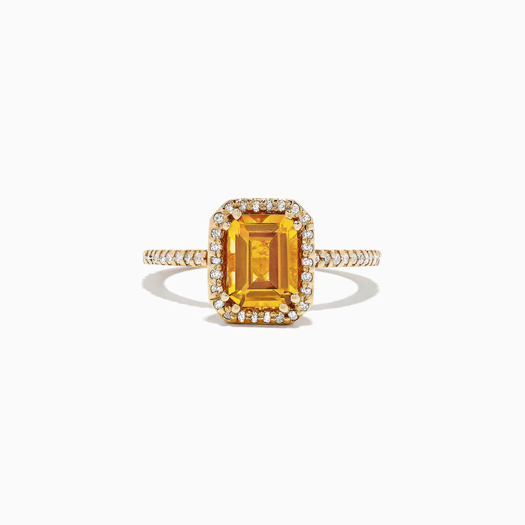 Effy 14K Yellow Gold Citrine and Diamond Ring, 1.68 TCW
