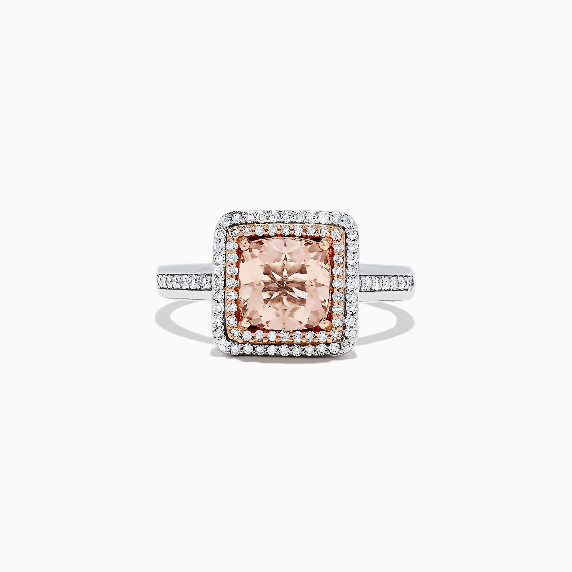 Effy Blush 14K Two Tone Gold Morganite and Diamond Ring, 1.68 TCW