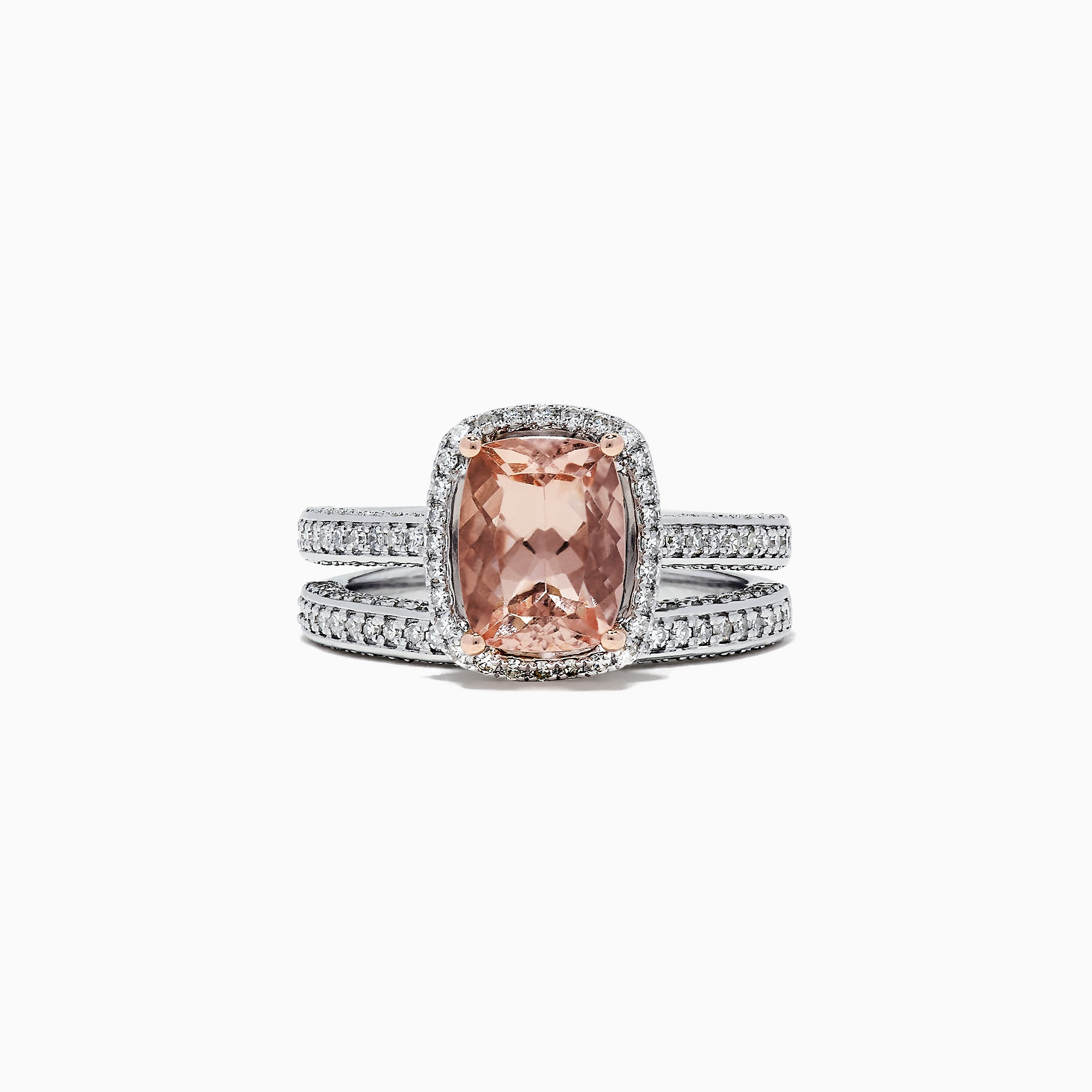 Effy Blush 14K White Gold Morganite and Diamond Ring Set, 3.04 TCW