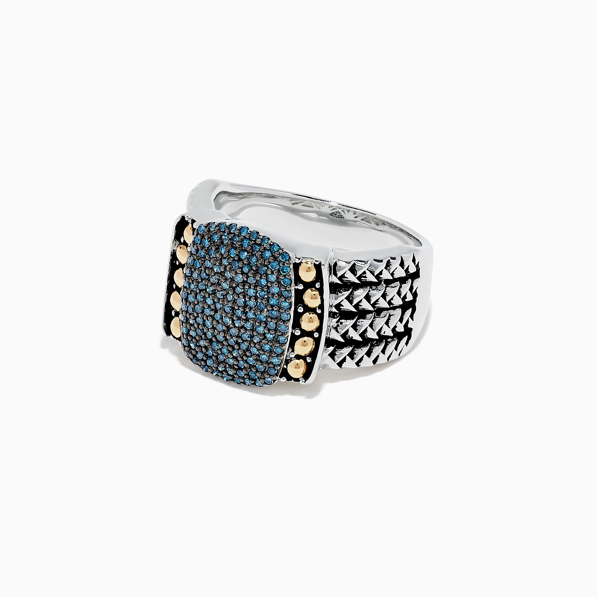 Effy 925 Sterling Silver and 18K Gold Blue Diamond Ring, 0.42 TCW