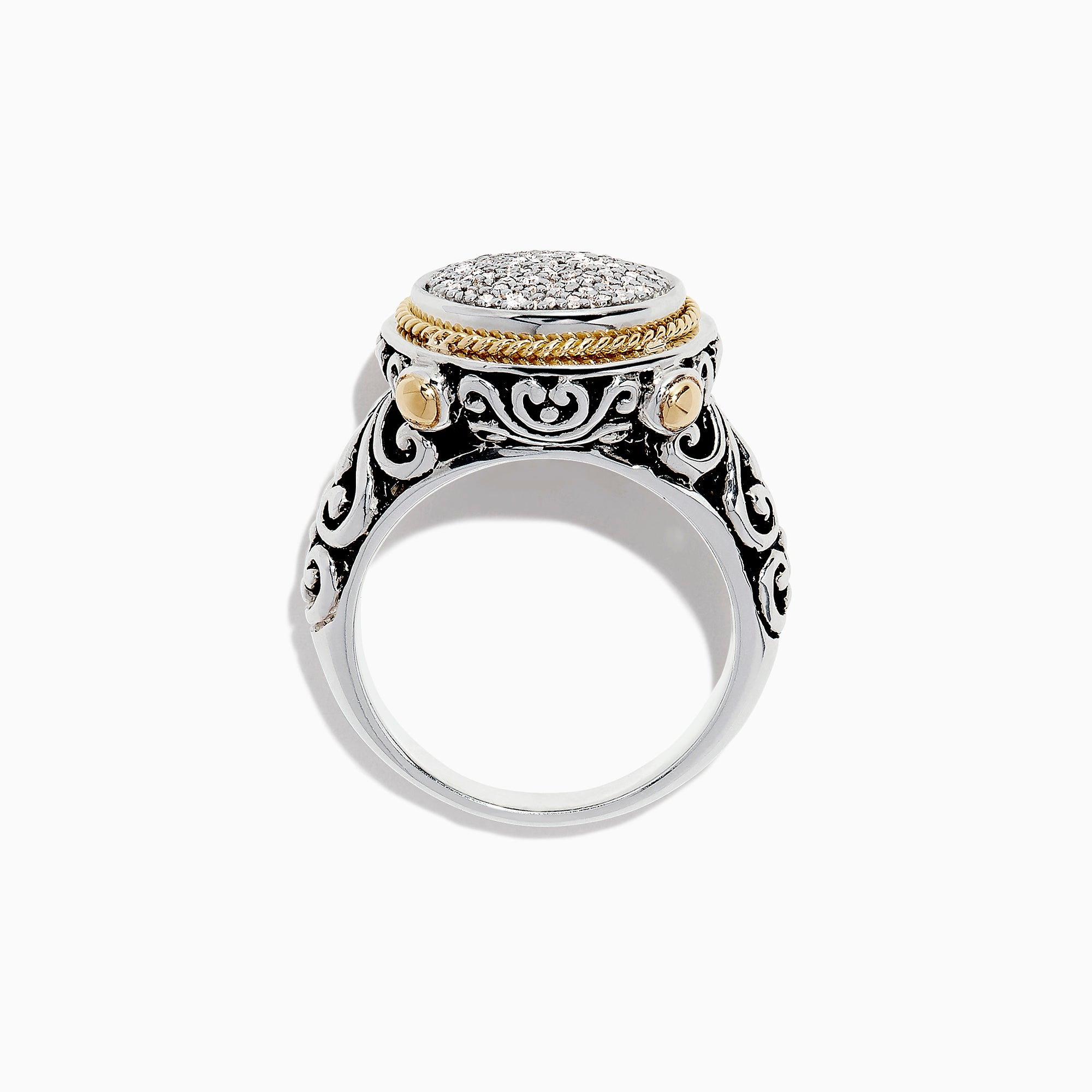 Effy 925 Sterling Silver & 18K Gold Diamond Ring, 0.22 TCW