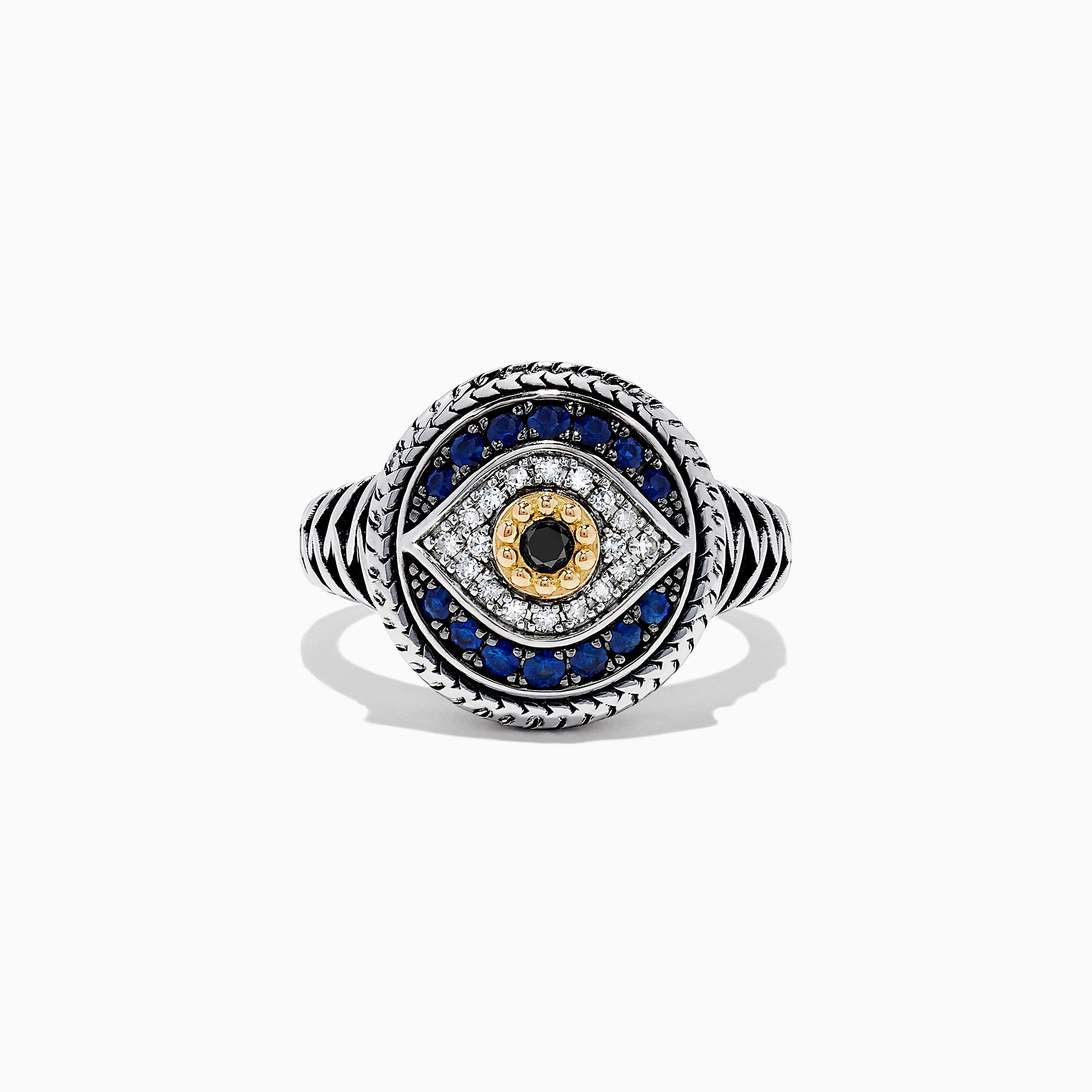 Effy 925 Sterling Silver Sapphire and Diamond Evil Eye Ring, 0.55 TCW