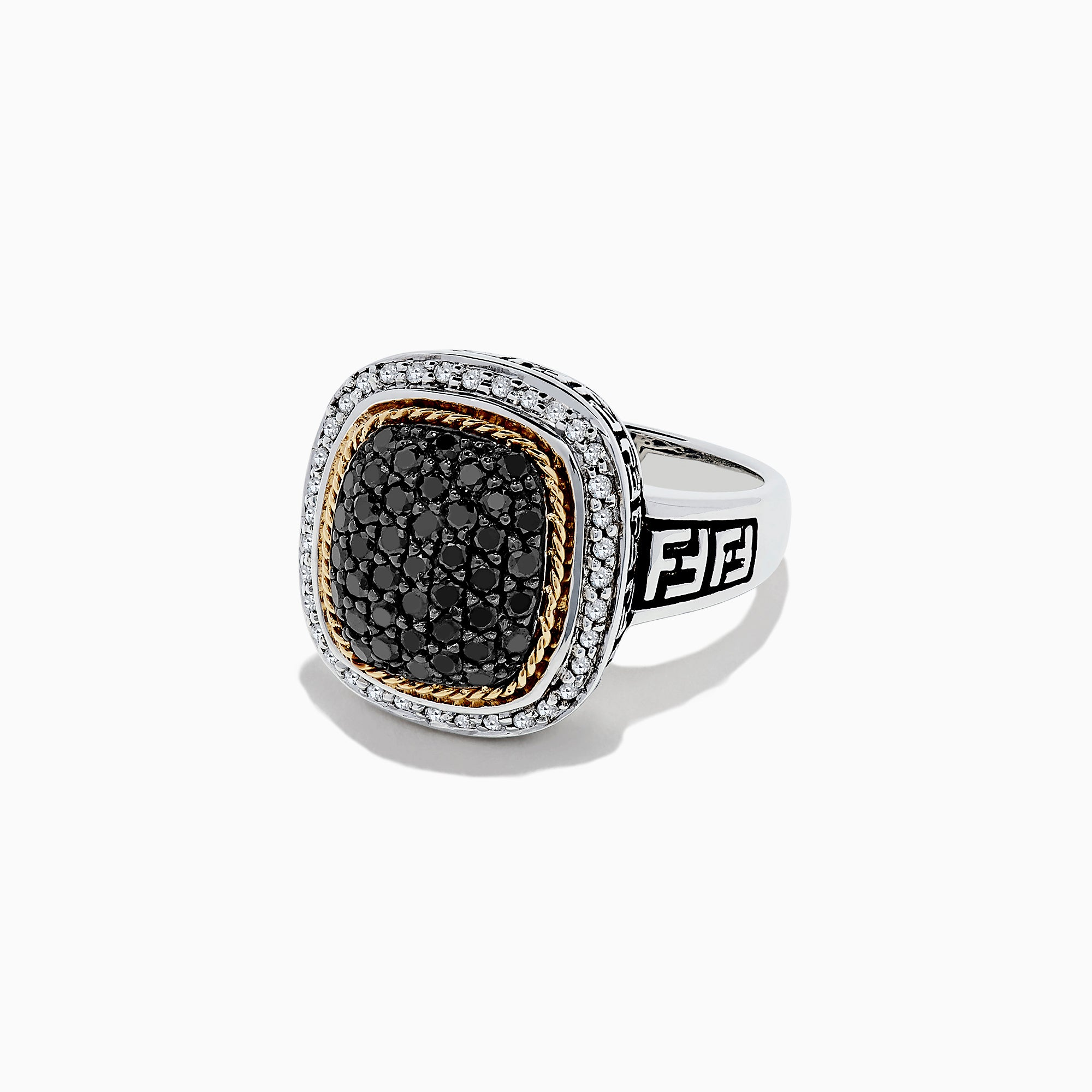 Effy 925 Sterling Silver & 18K Gold Black and White Diamond Ring, 1.00 TCW