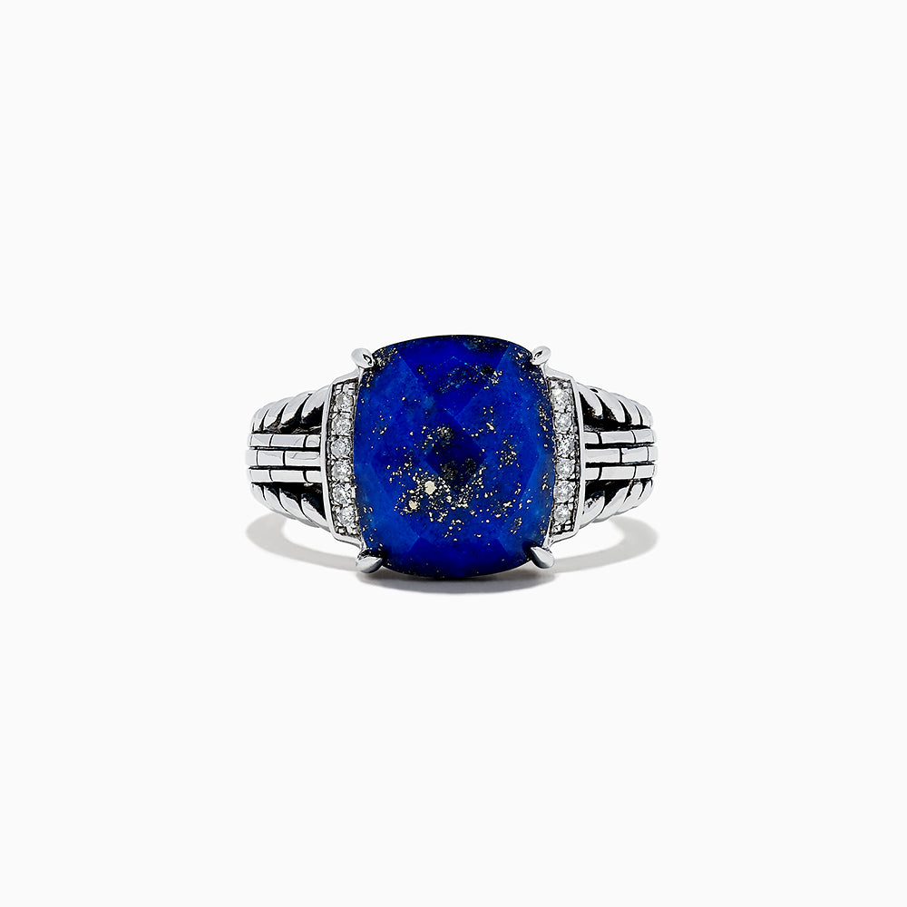 Effy 925 Sterling silver Lapis Lazui and Diamond ring, 6.00 TCW