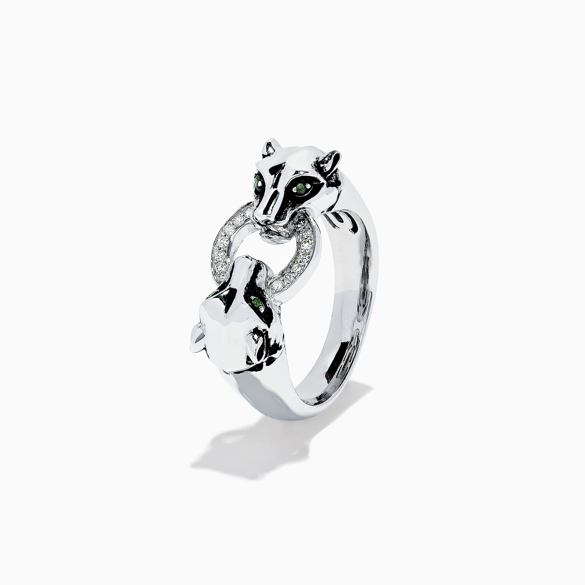 Effy Signature Sterling Silver Diamond Panther Ring, 0.09 TCW