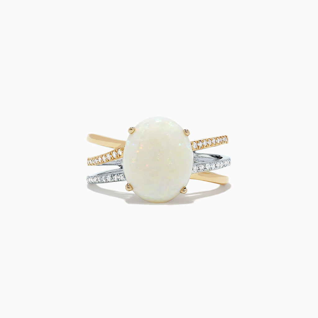Effy 14K 2-Tone Gold Opal and Diamond Ring, 2.64 TCW