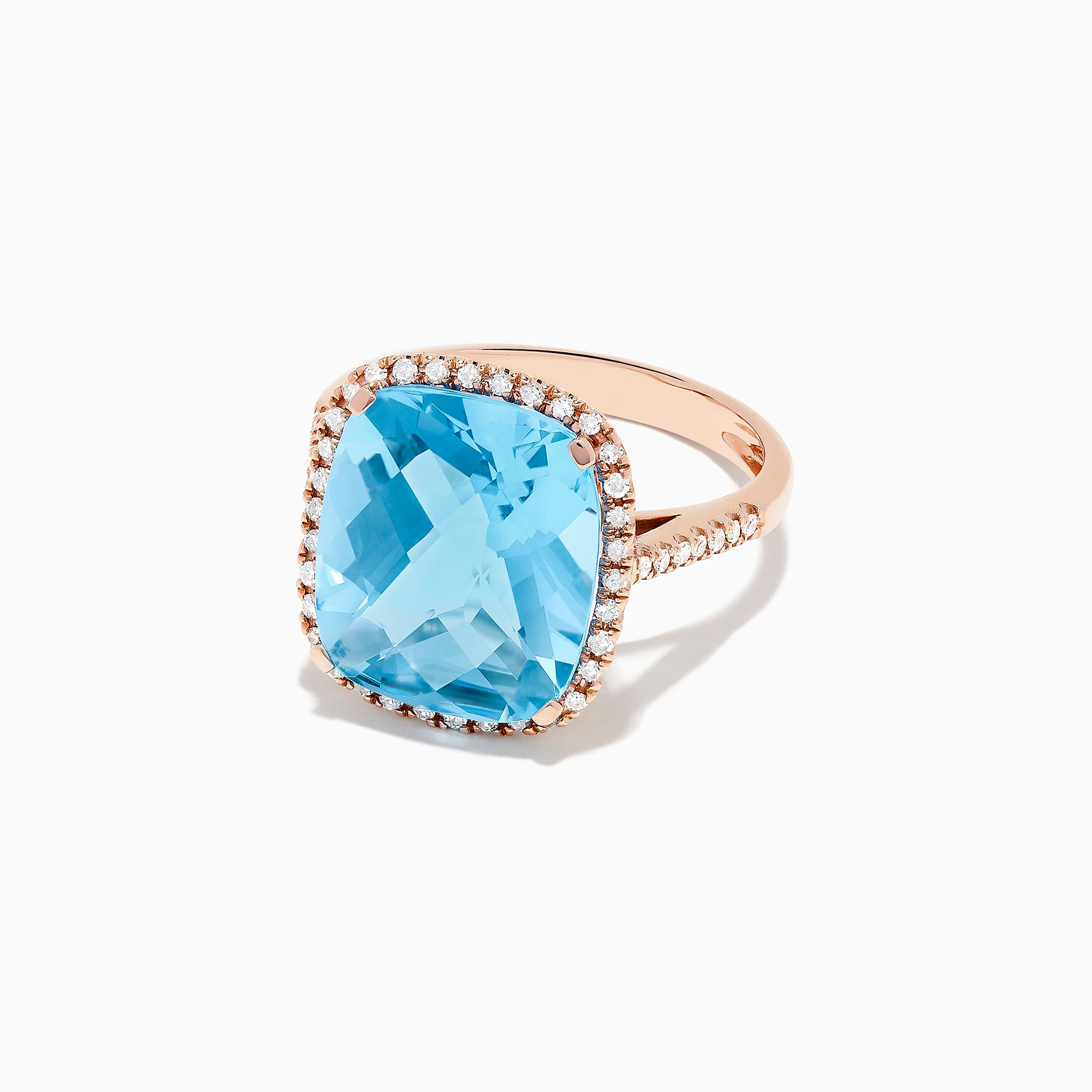 Effy 14K Rose Gold Blue Topaz and Diamond Cocktail Ring, 11.74 TCW
