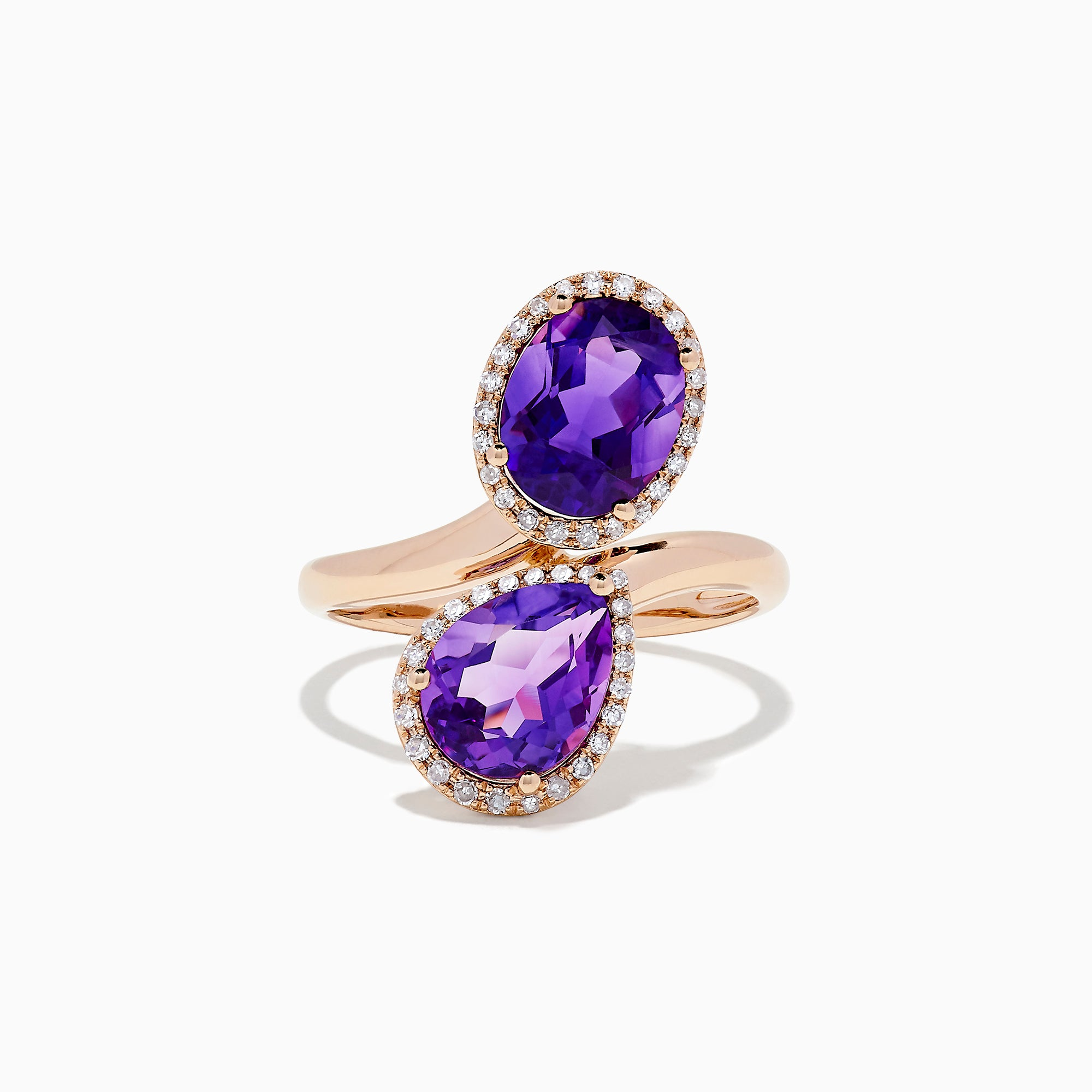 Effy 14K Rose Gold Amethyst and Diamond Ring, 4.03 TCW