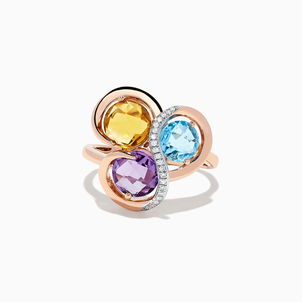 Effy 14K Rose Gold Mix Gemstone and Diamond Ring, 3.30 TCW