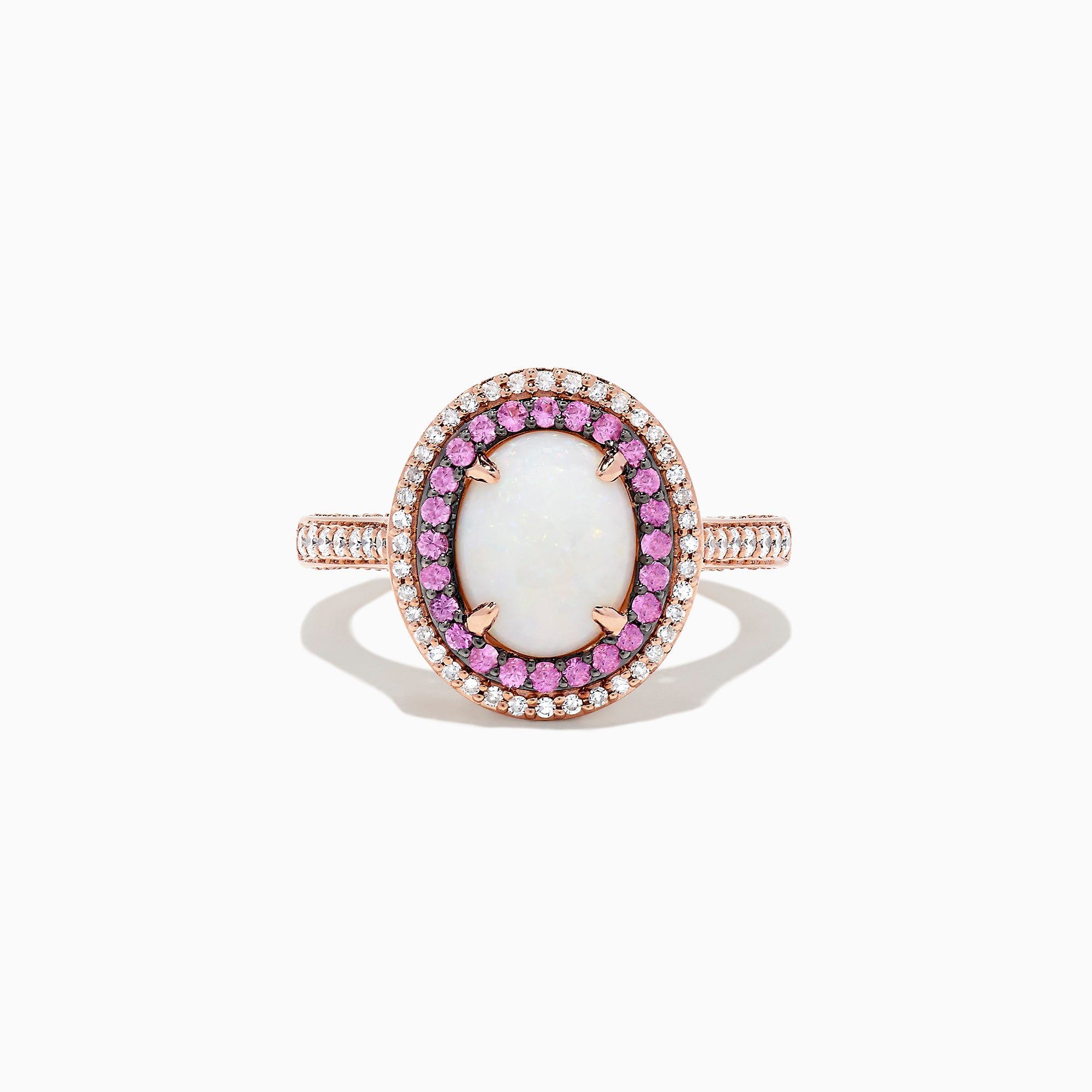 Effy 14K Rose Gold Opal, Pink Sapphire and Diamond Ring, 2.20 TCW