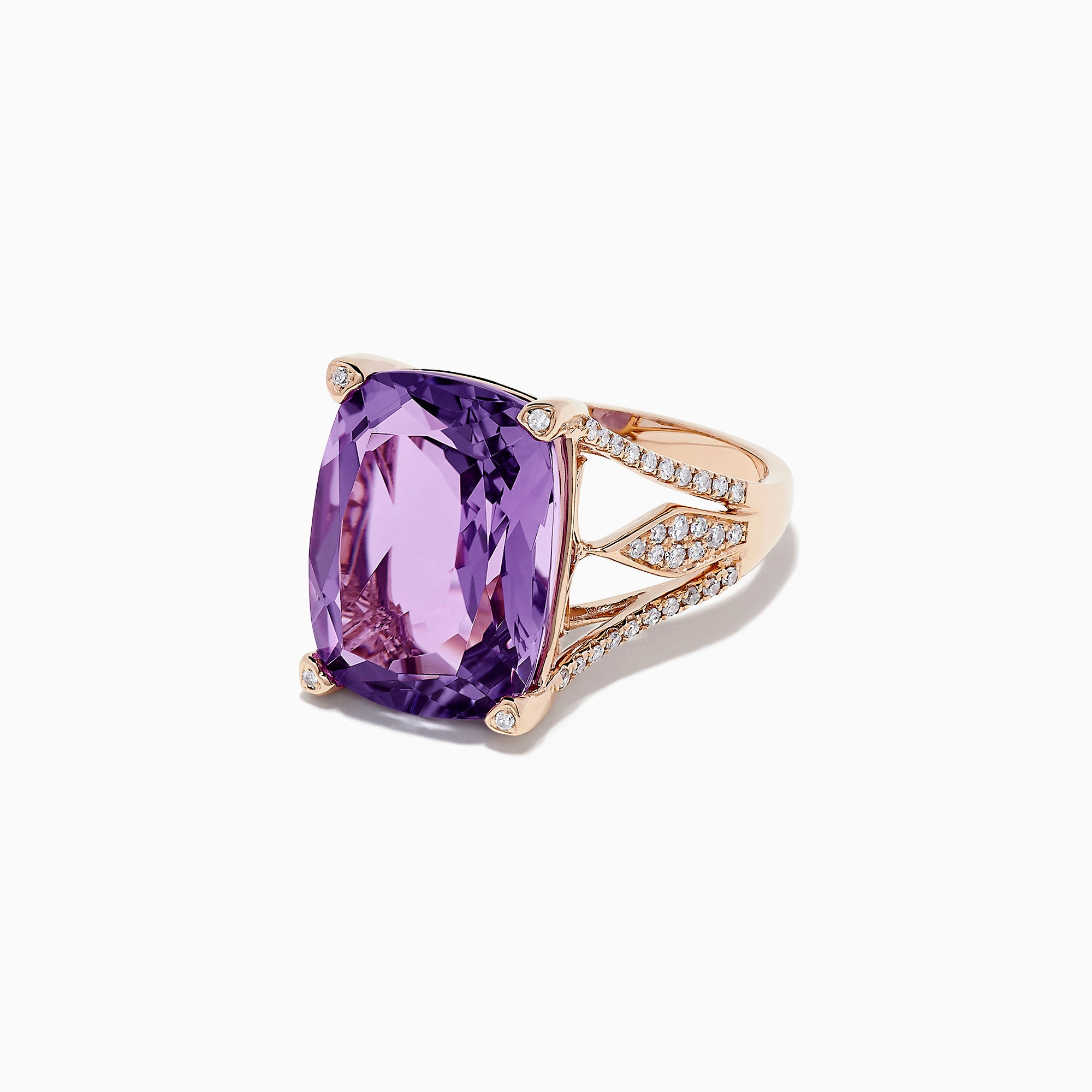 Effy 14K Rose Gold Amethyst and Diamond Cocktail Ring, 9.86 TCW