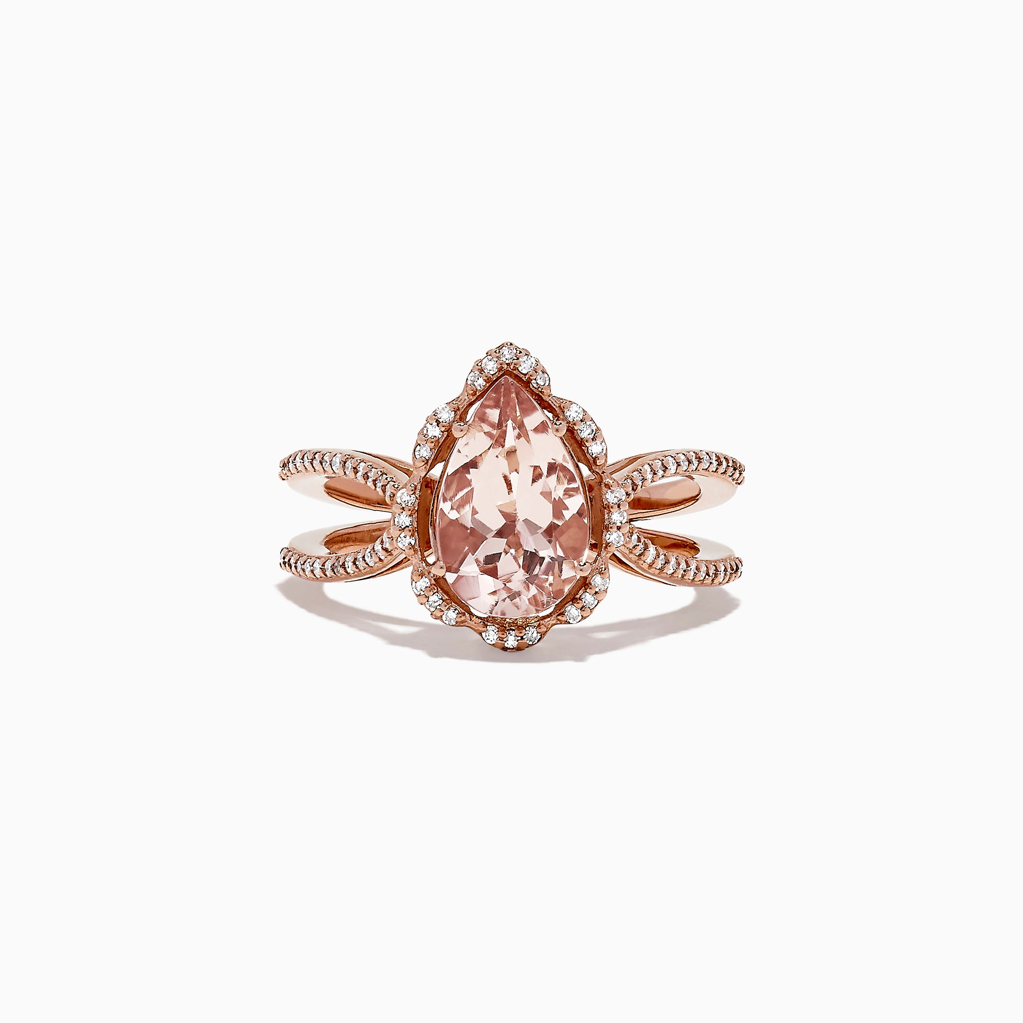 Effy Blush 14K Rose Gold Morganite and Diamond Pear Shaped Ring, 1.75 TCW