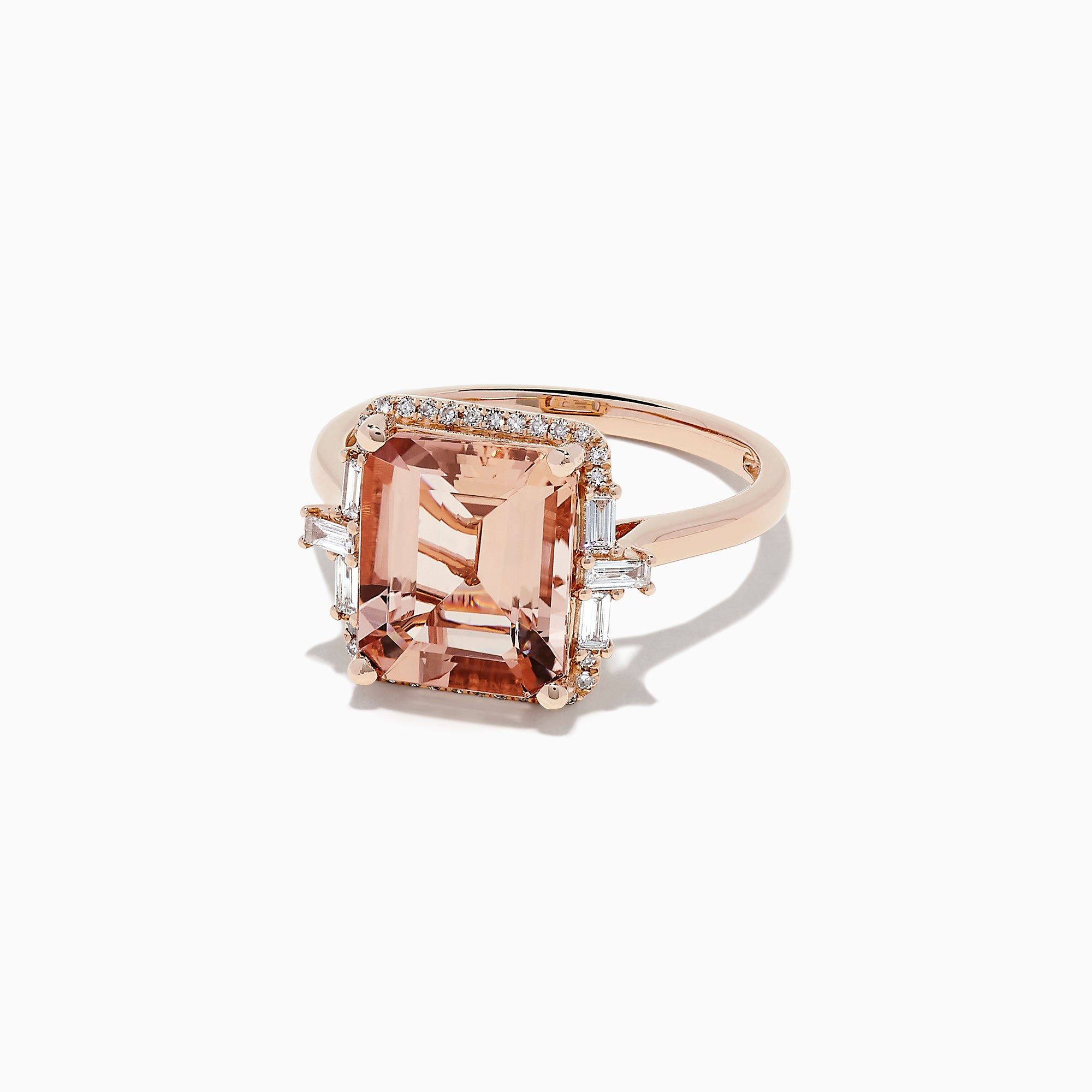 Effy Blush 14K Rose Gold Morganite and Diamond Cocktail Ring, 4.16 TCW