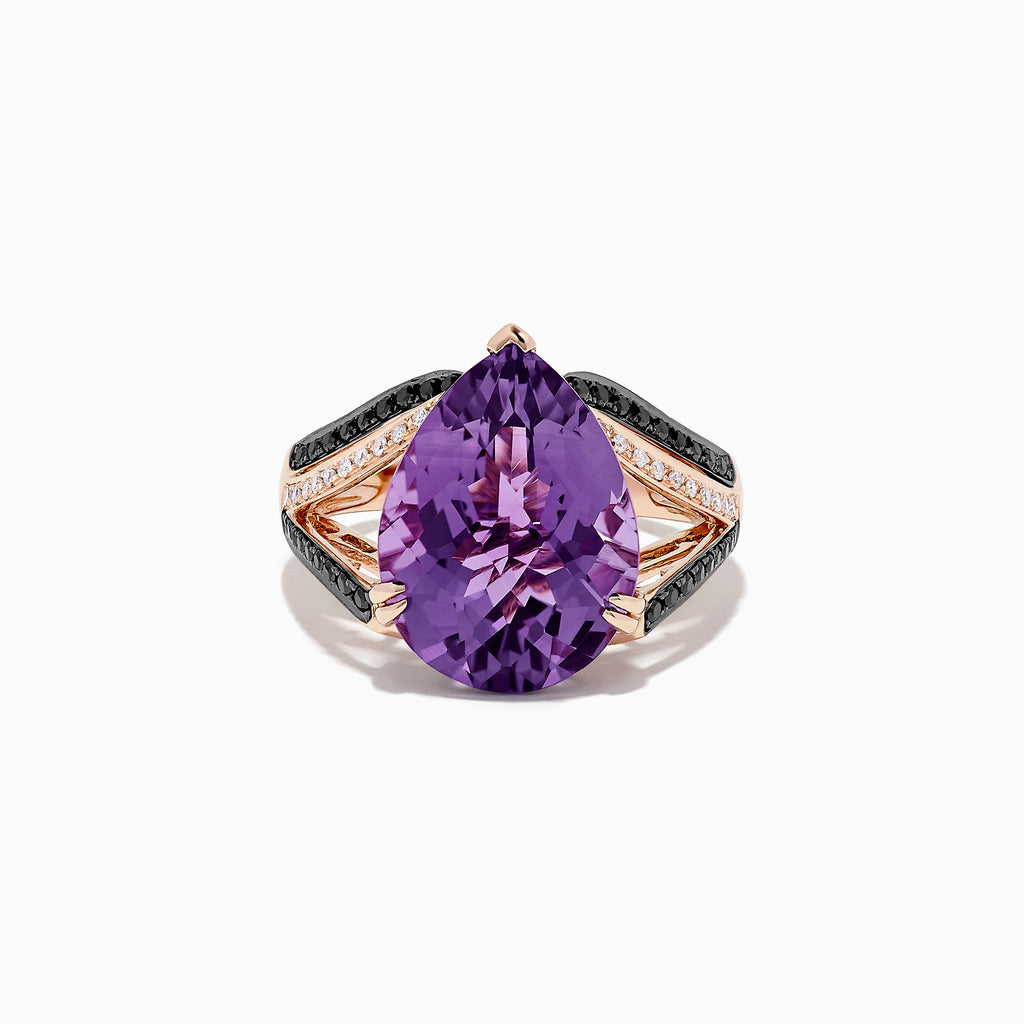 Effy 14K Rose Gold Amethyst and Diamond Ring, 8.78 TCW