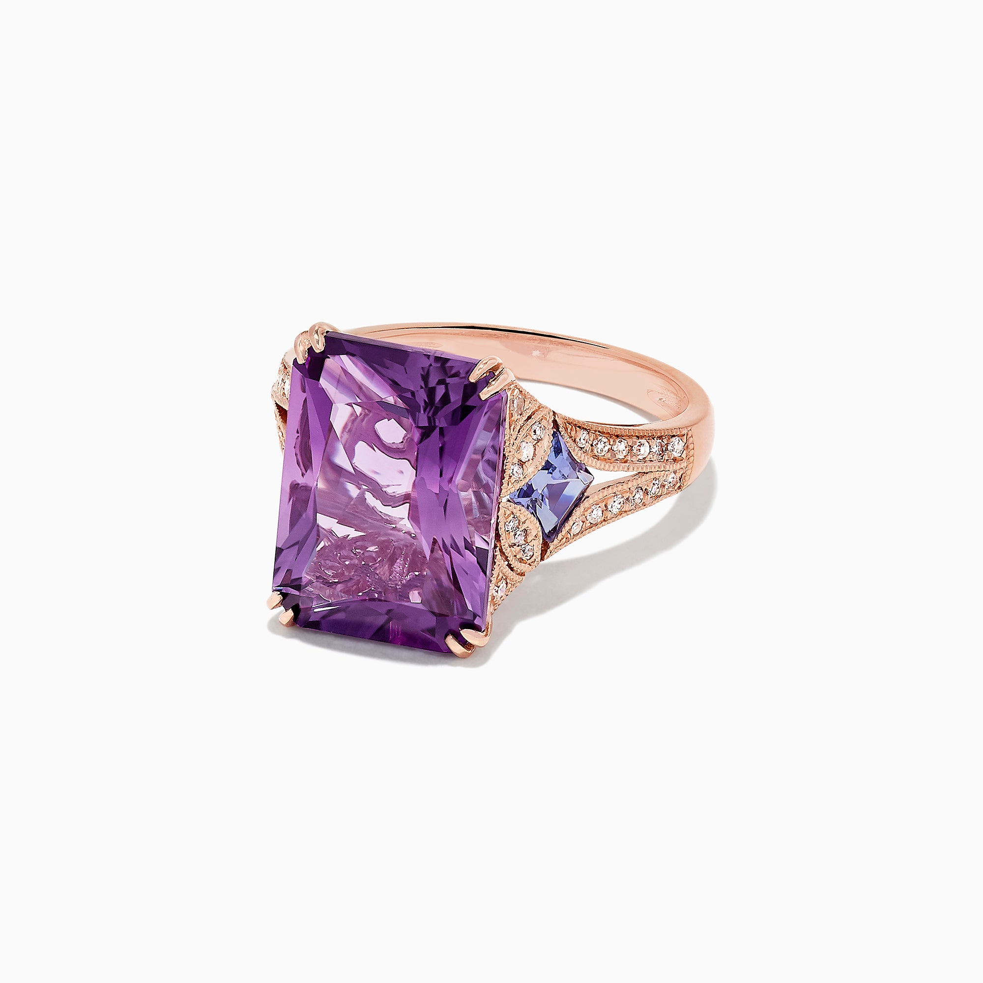Effy 14K Rose Gold Amethyst, Tanzanite and Diamond Cocktail Ring, 7.60 TCW