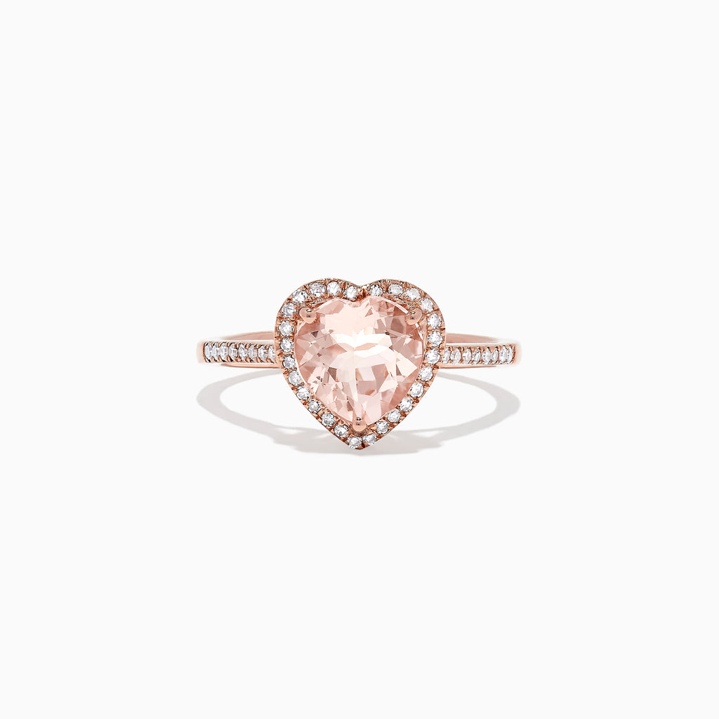 Effy Blush 14K Rose Gold Morganite and Diamond Heart Ring, 1.93 TCW