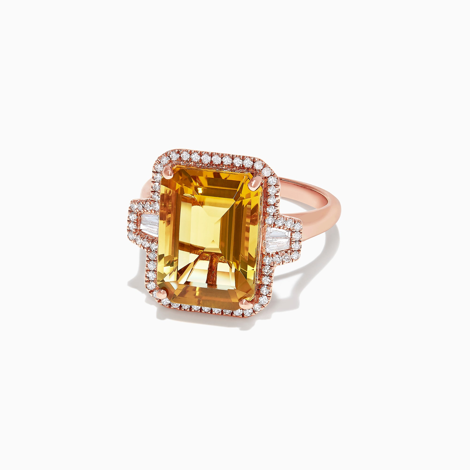 Effy Sunset 14K Rose Gold Citrine and Diamond Cocktail Ring, 6.94 TCW