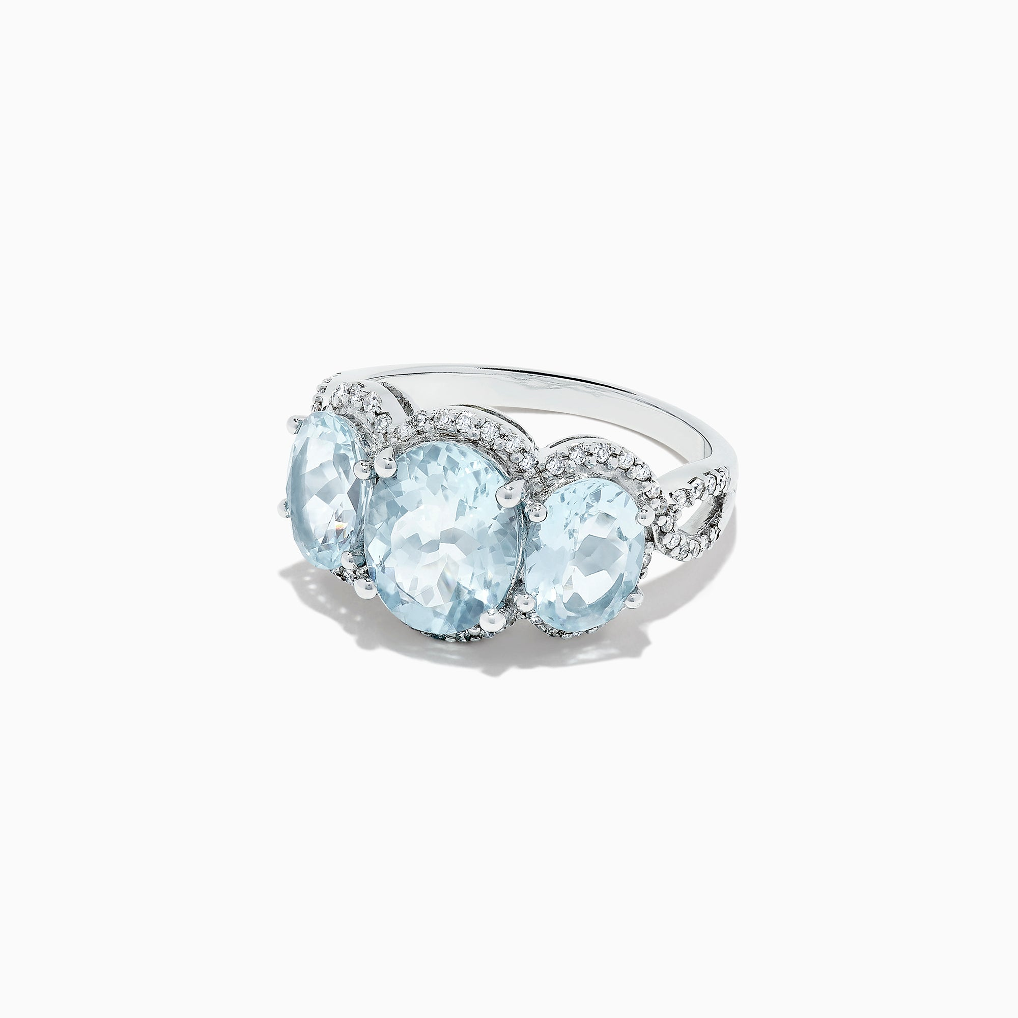 Effy 14K White Gold Aquamarine and Diamond Ring, 4.19 TCW