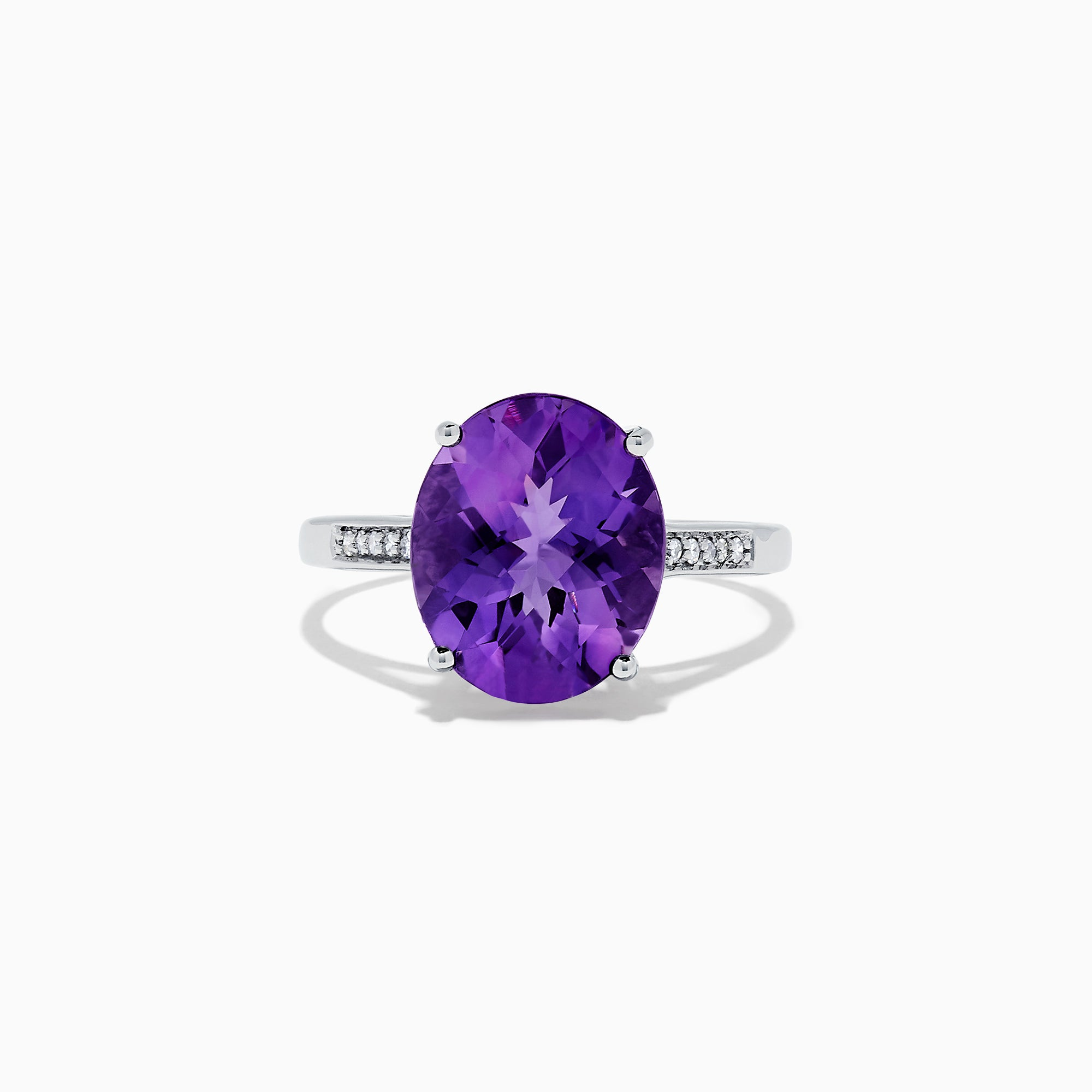 Effy 14K White Gold Amethyst and Diamond Ring, 4.19 TCW