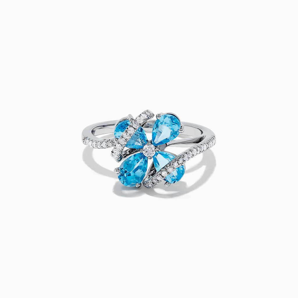 Effy Ocean Bleu 14K White Gold Blue Topaz and Diamond Ring, 1.88 TCW