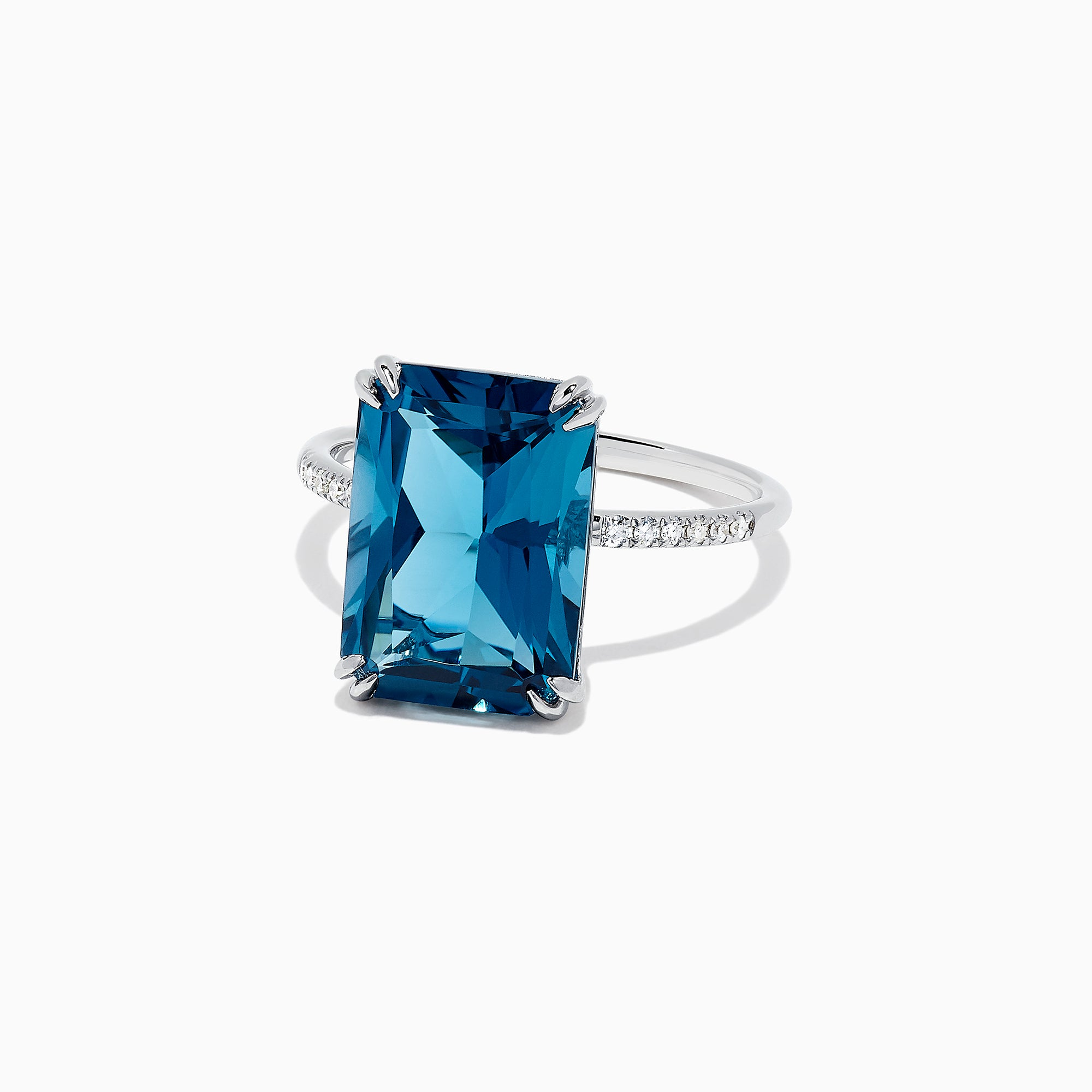 Effy Ocean Blue 14K Gold London Blue Topaz and Diamond Ring, 8.39 TCW