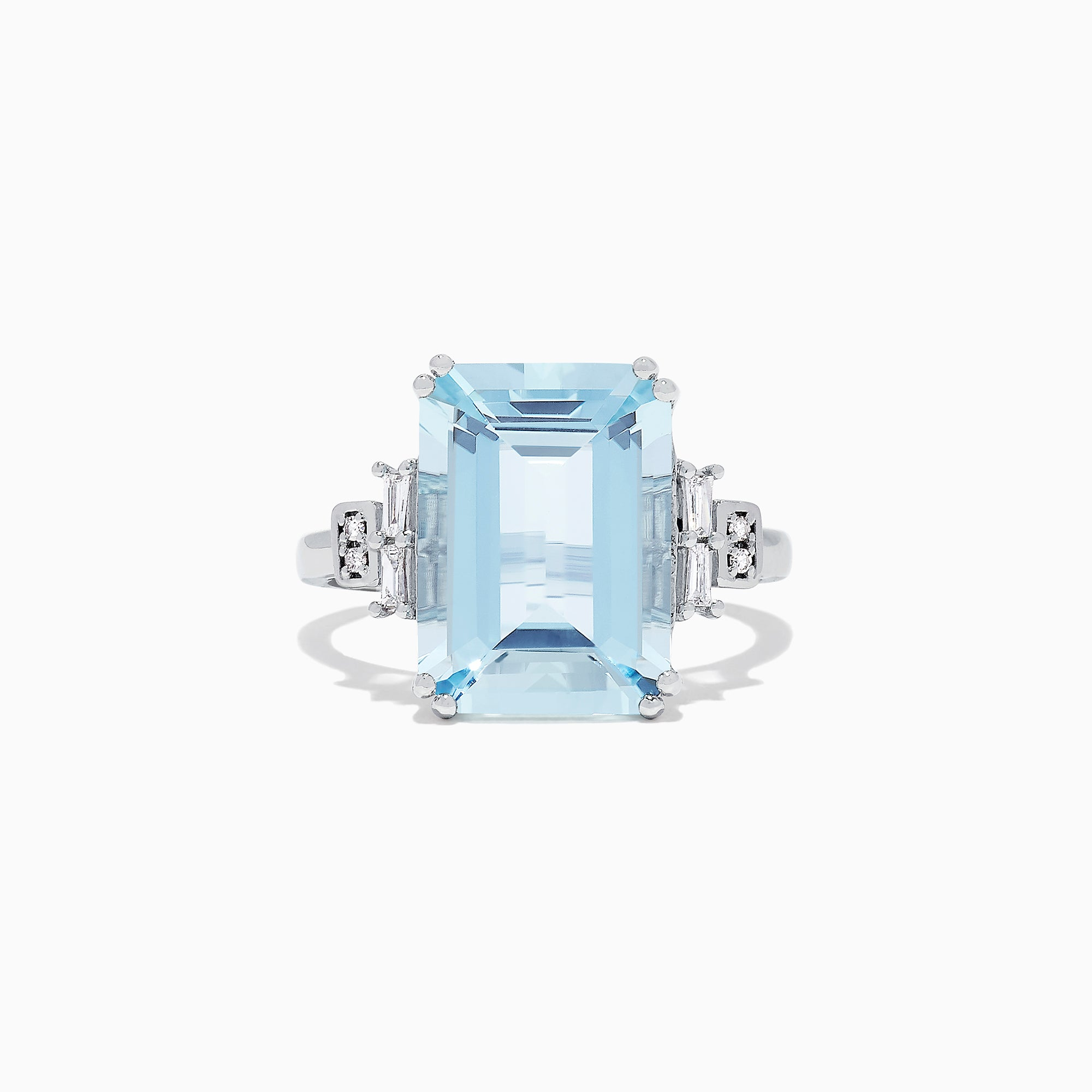 Effy Aquarius 14K White Gold Aquamarine and Diamond Cocktail Ring, 7.00 TCW