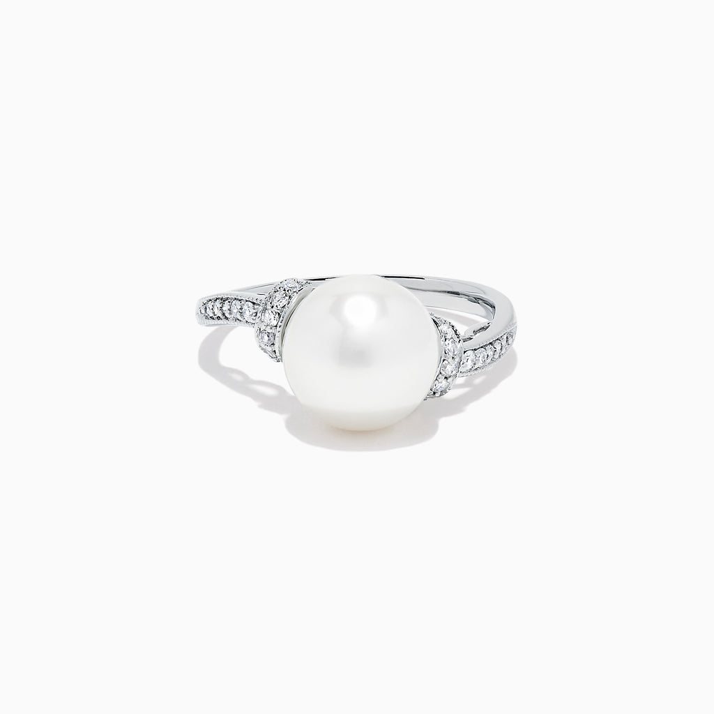 Effy 14K White Gold Cultured Fresh Water Pearl and Diamond Ring, 0.14 TCW