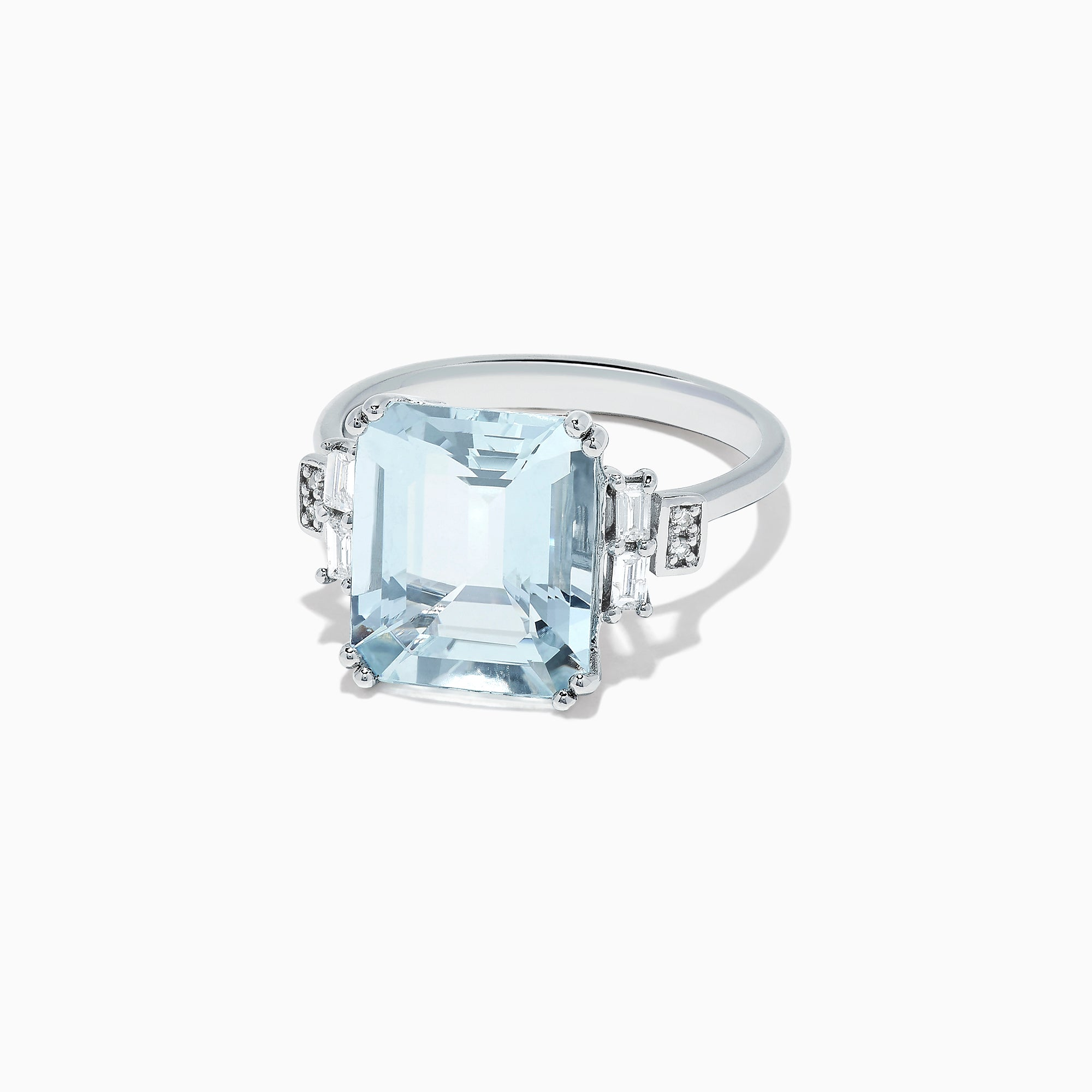 Effy Aquarius 14K White Gold Aquamarine and Diamond Ring, 5.05 TCW