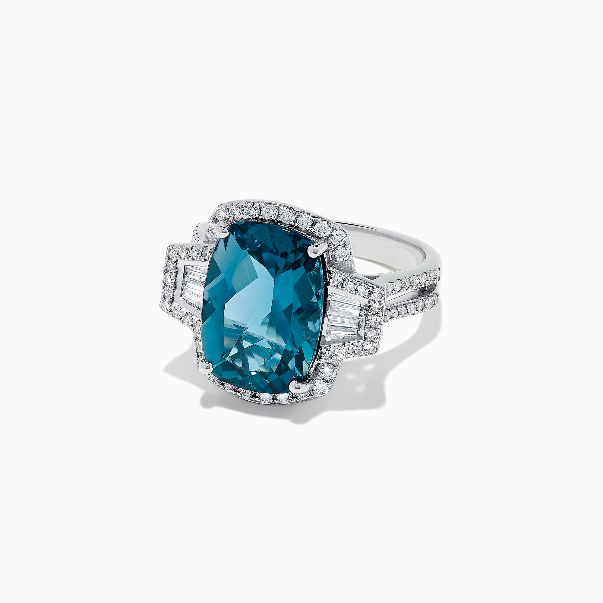 Effy Ocean Bleu 14K White Gold London Topaz & Diamond Ring, 9.33 TCW