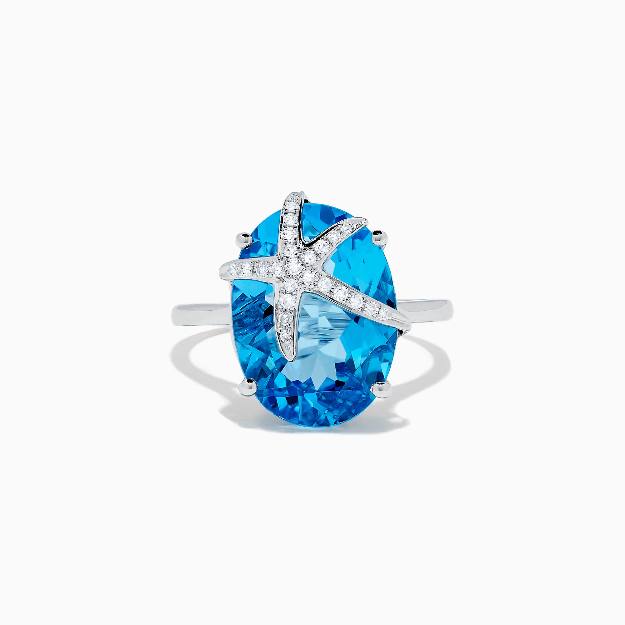 Effy Seaside 14K Gold Blue Topaz and Diamond Starfish Ring, 13.74 TCW